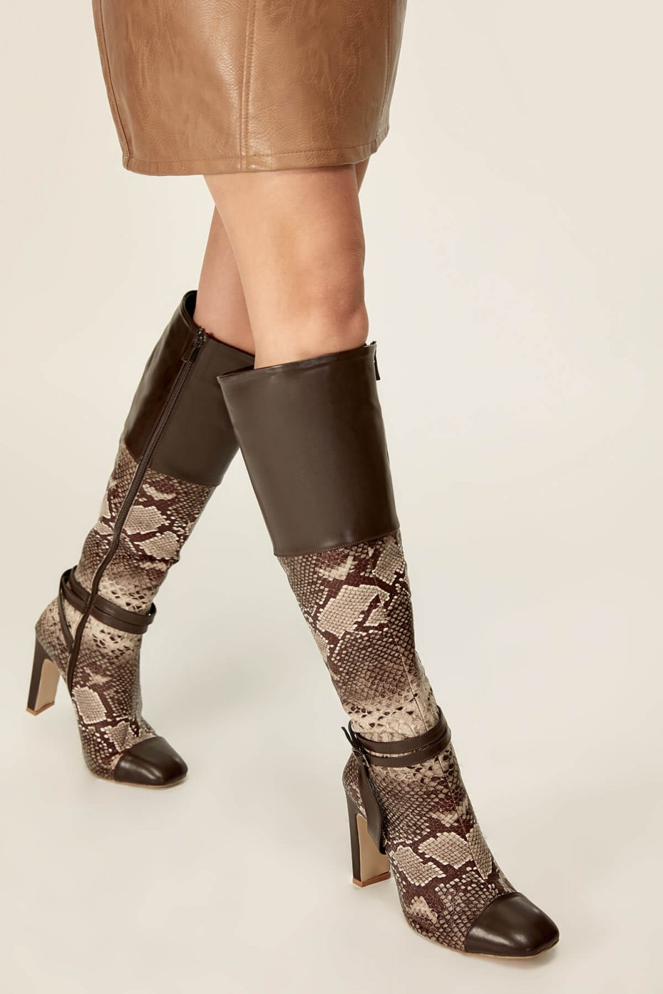 Trendyol Brown Snake-Patterned Women's Boot