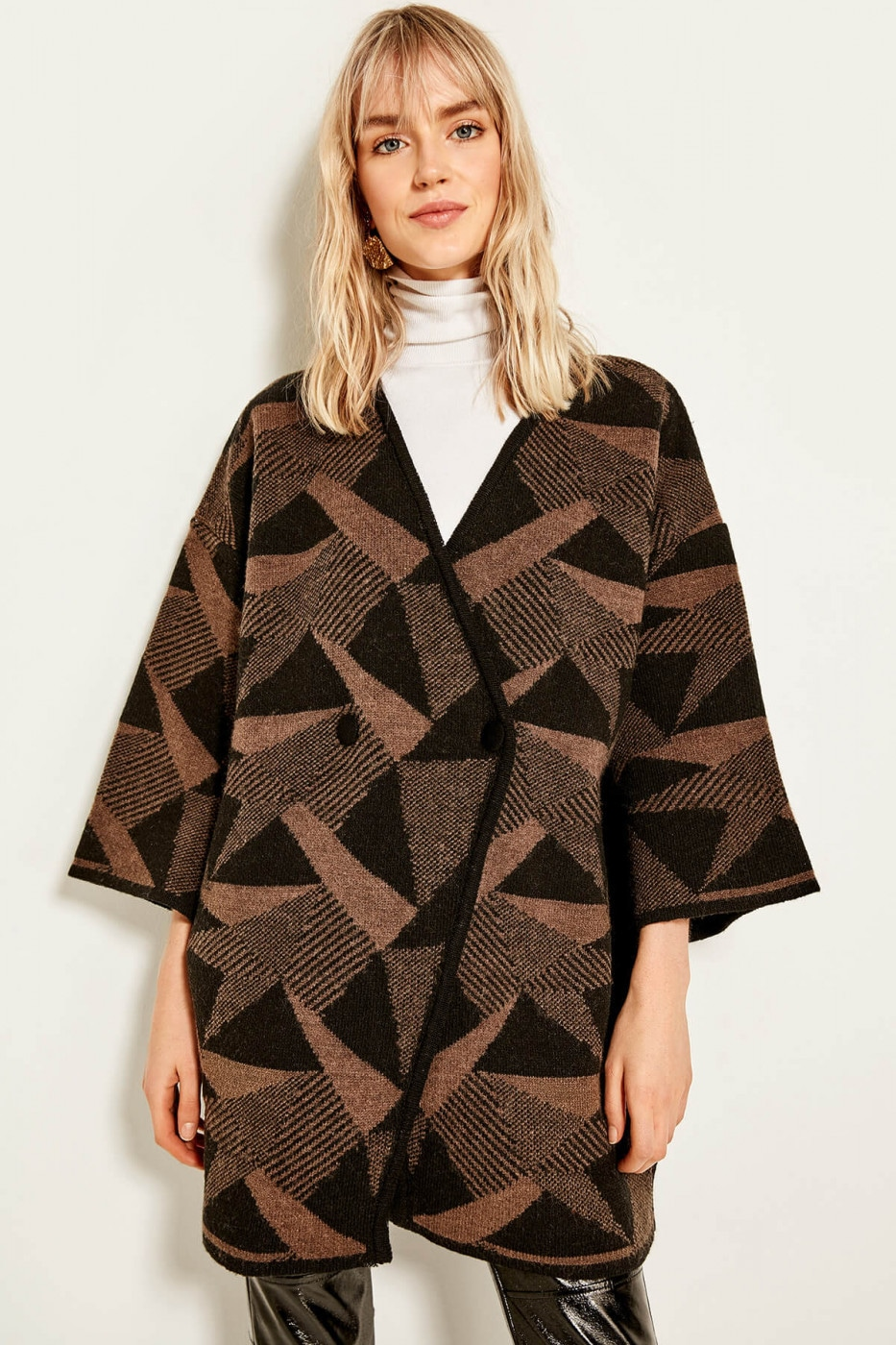 Trendyol Brown Button Detailed Patterned Sweater Coat