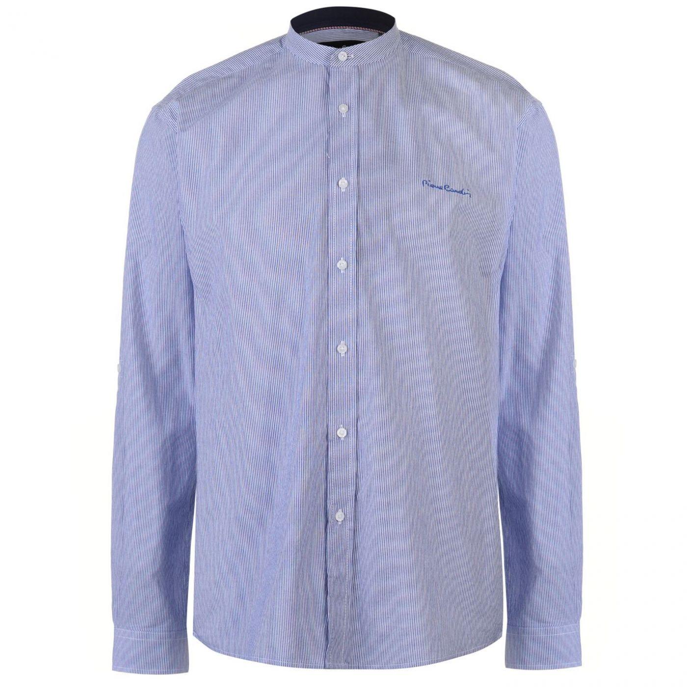 Pierre Cardin Collarless Long Sleeve Stripe Shirt Mens