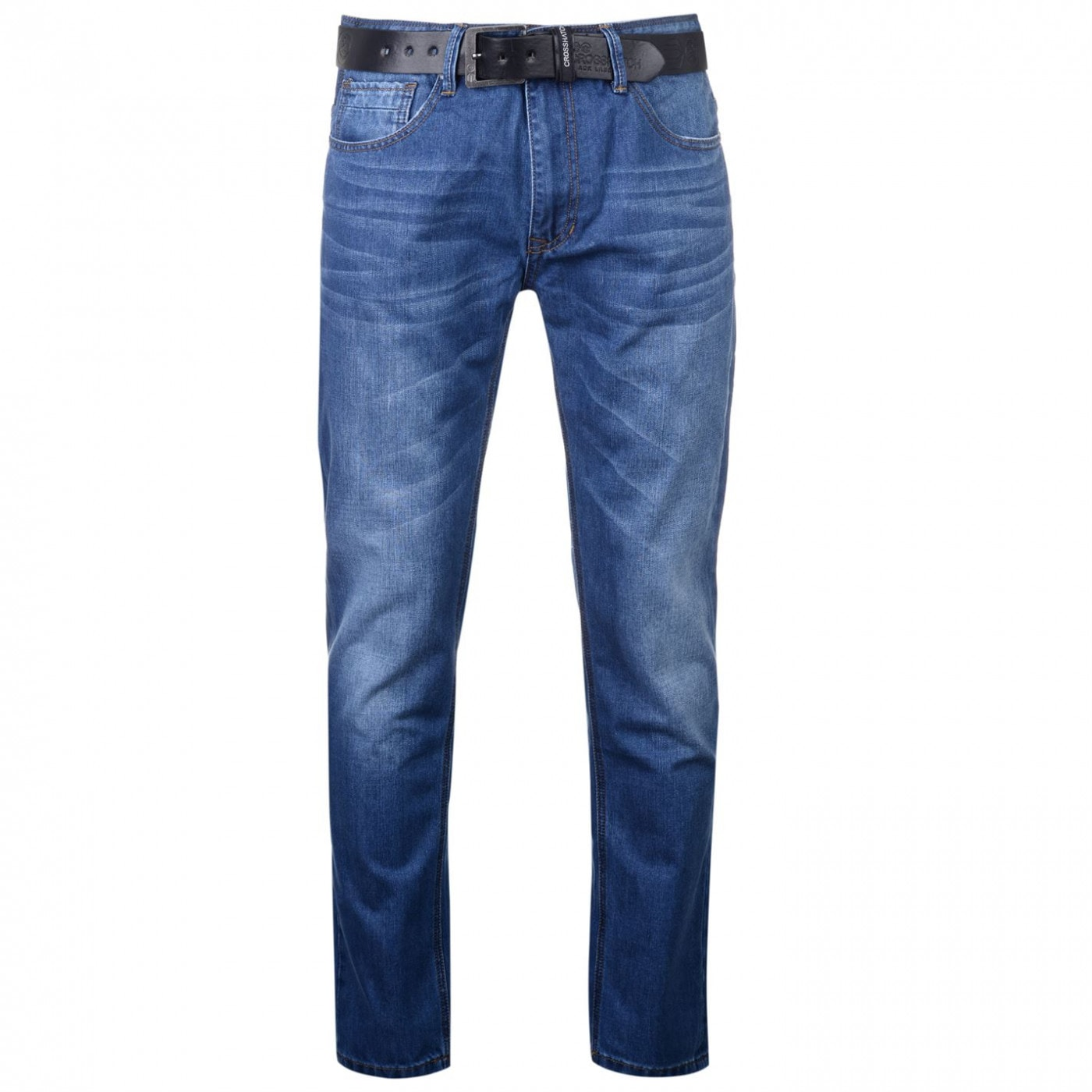 Crosshatch Lartoons Belted Jeans Mens