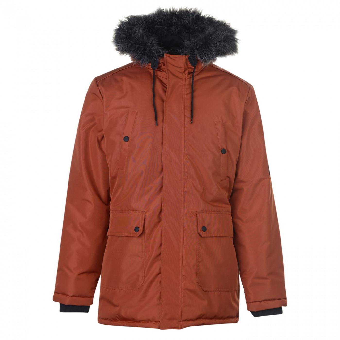Fabric Long Parka Jacket Mens