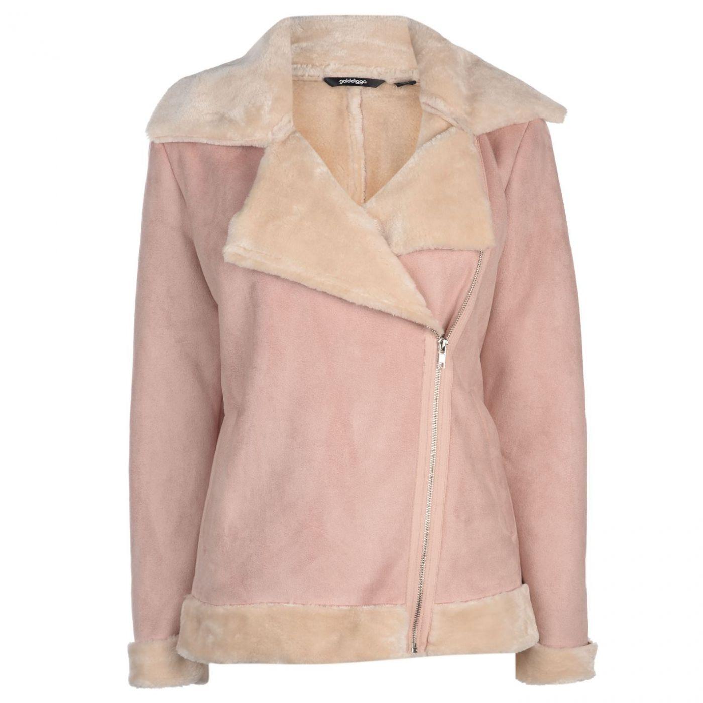 Golddigga Faux Fur Aviator Jacket Ladies