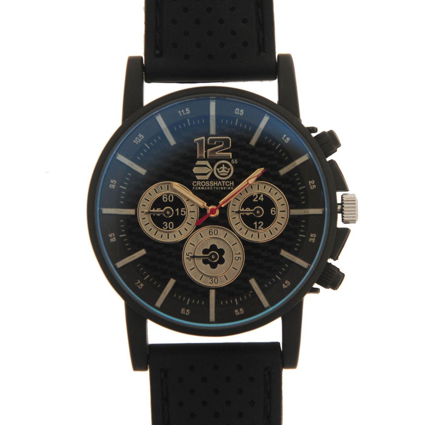 Crosshatch Chequered Rubber Strap Watch Mens