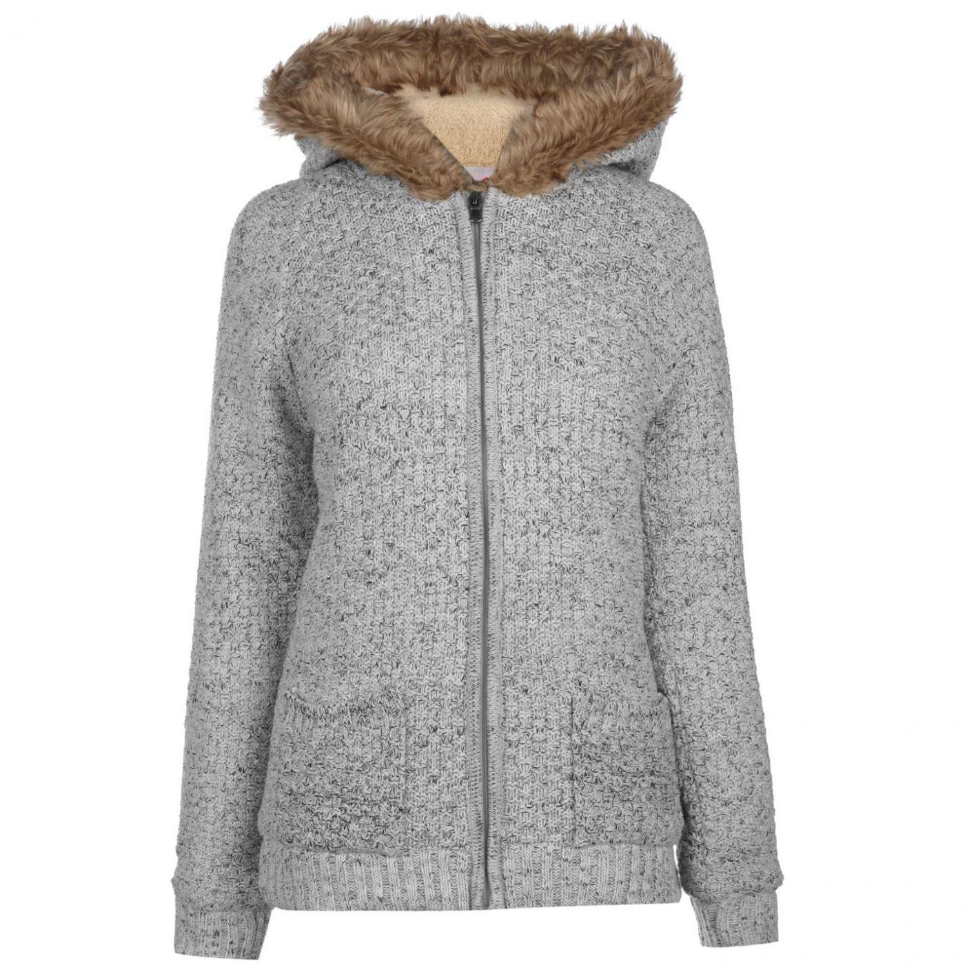 Lee Cooper Hooded Zip Knit Jacket Ladies
