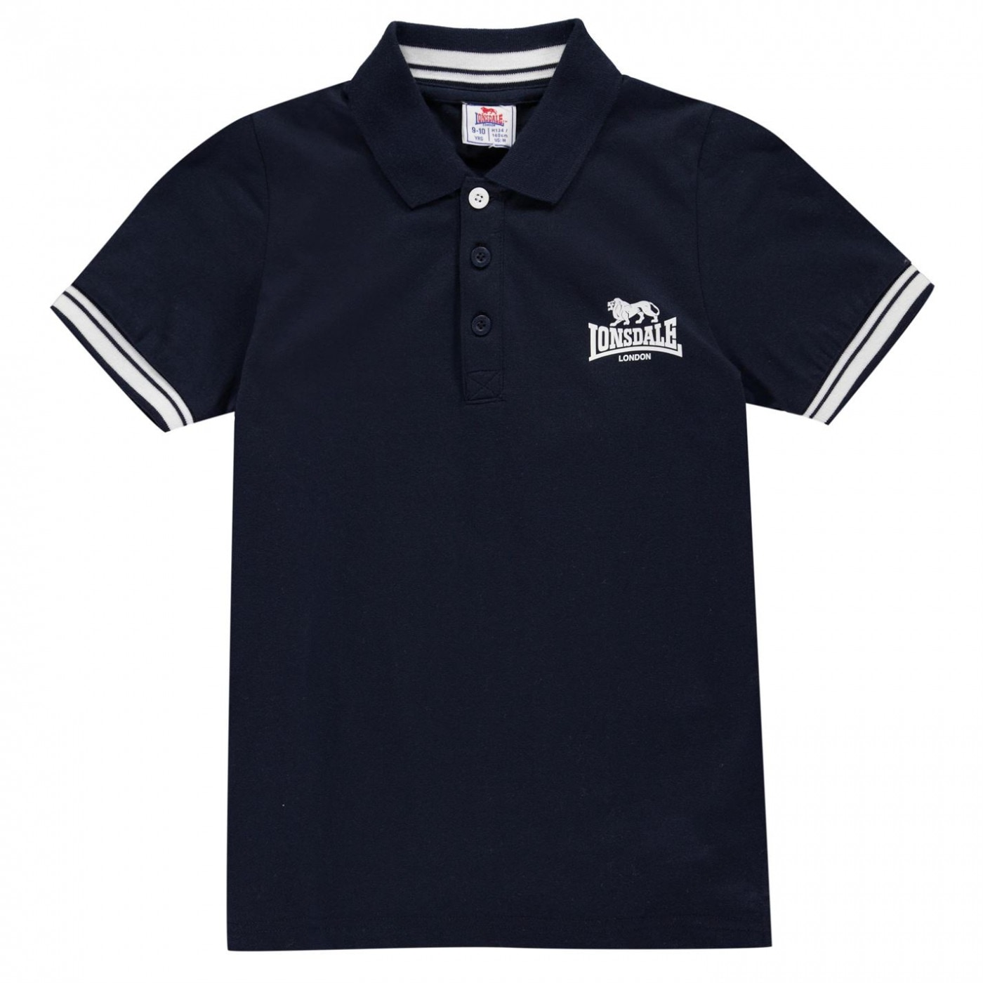 Lonsdale 2 Stripe Jersey Polo Junior Boys