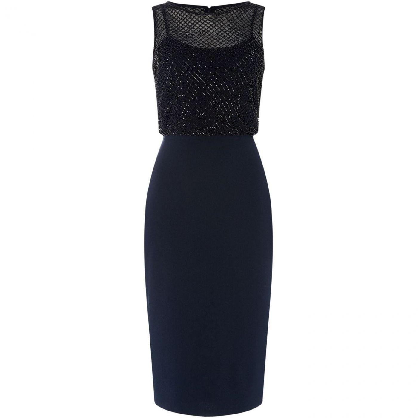 Adrianna Papell Embellished blouson shift dress