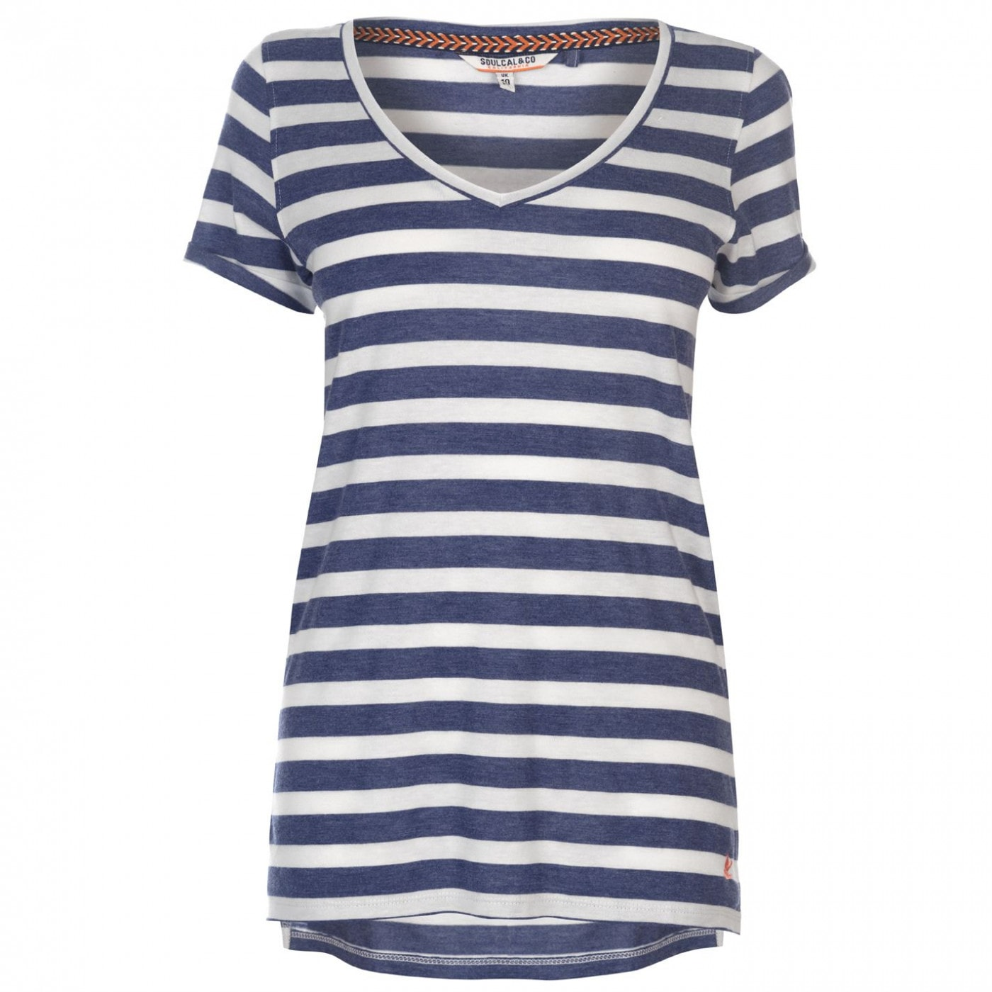 SoulCal V Neck Stripe T Shirt Ladies