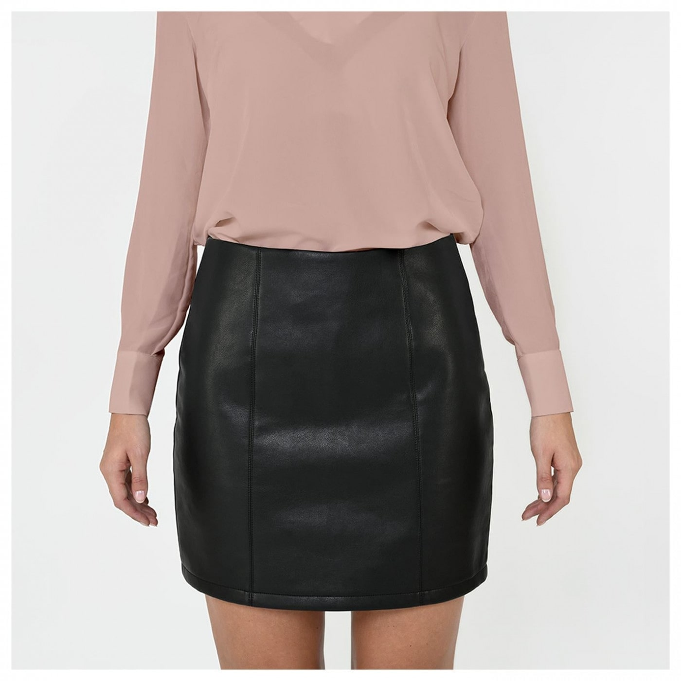 Firetrap Blackseal Black PU Skirt