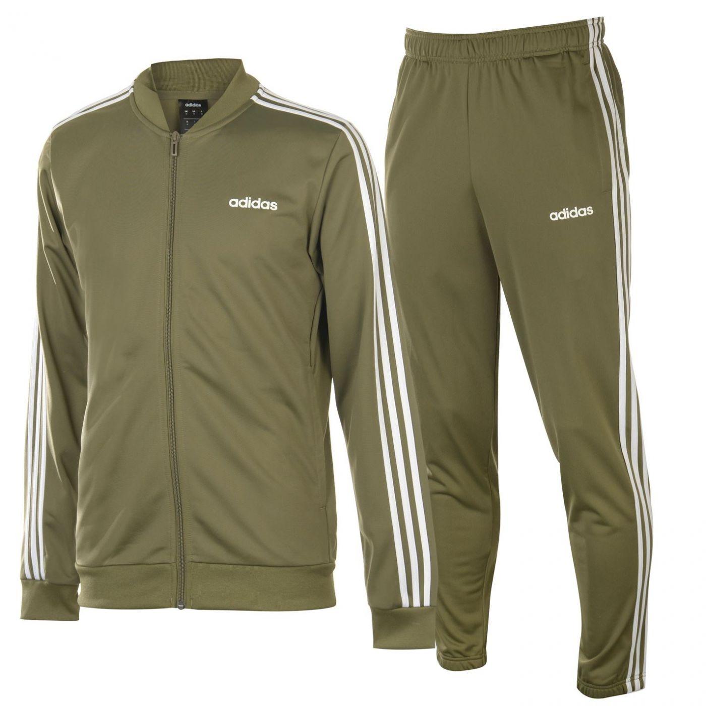 Adidas 3 Stripe Poly Tracksuit Mens
