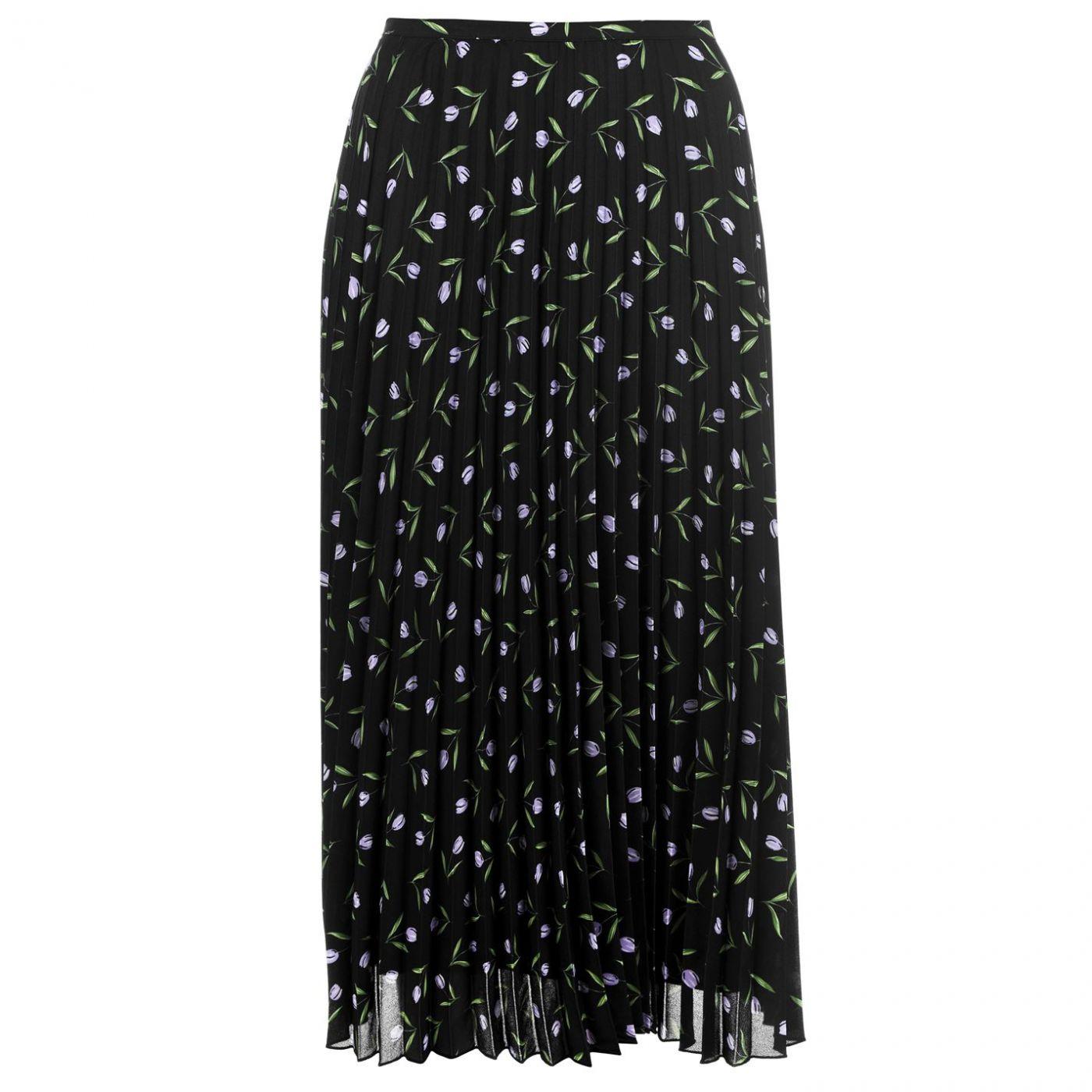 SET Pleated Floral Print Skirt