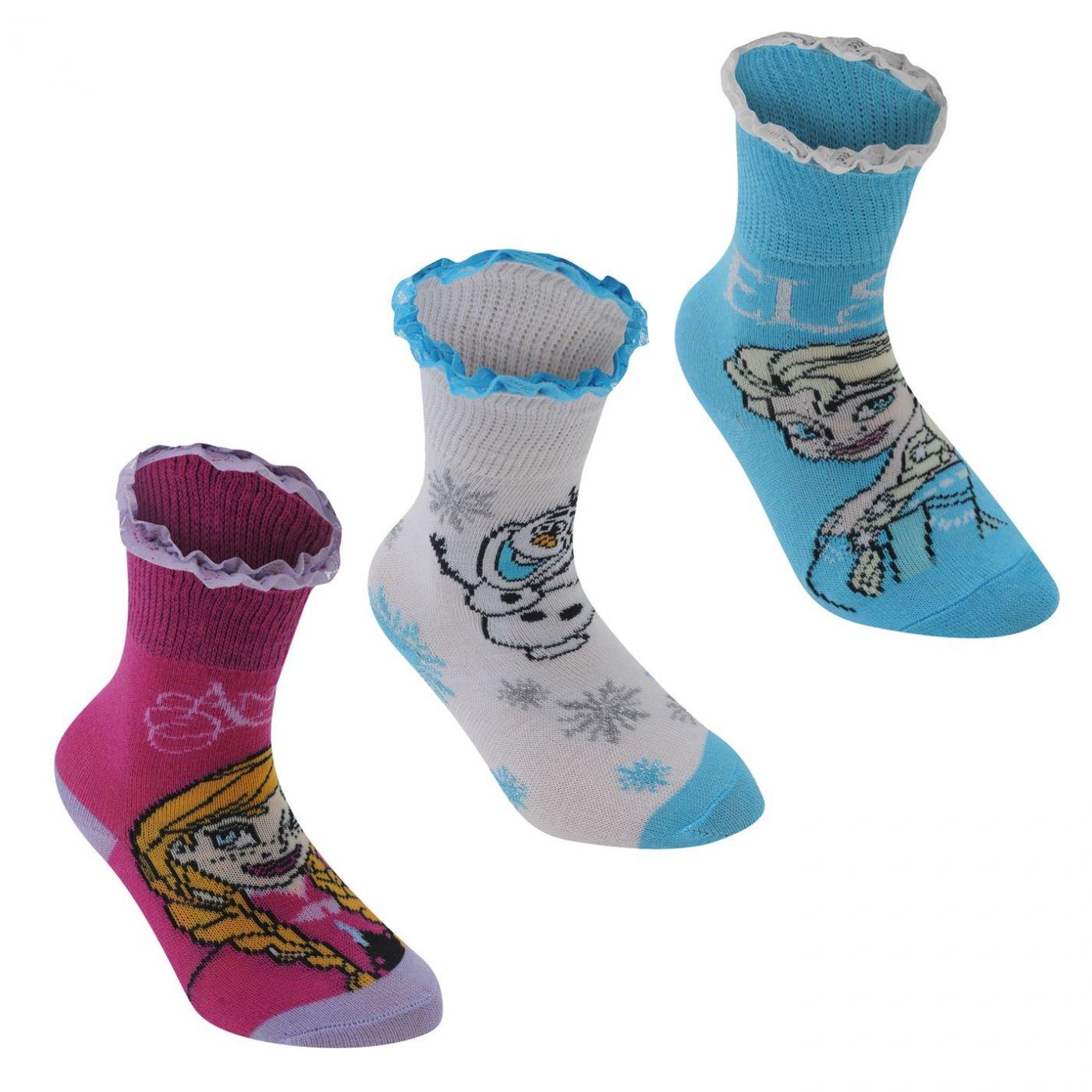 Disney 3 Pack Crew Socks Childrens
