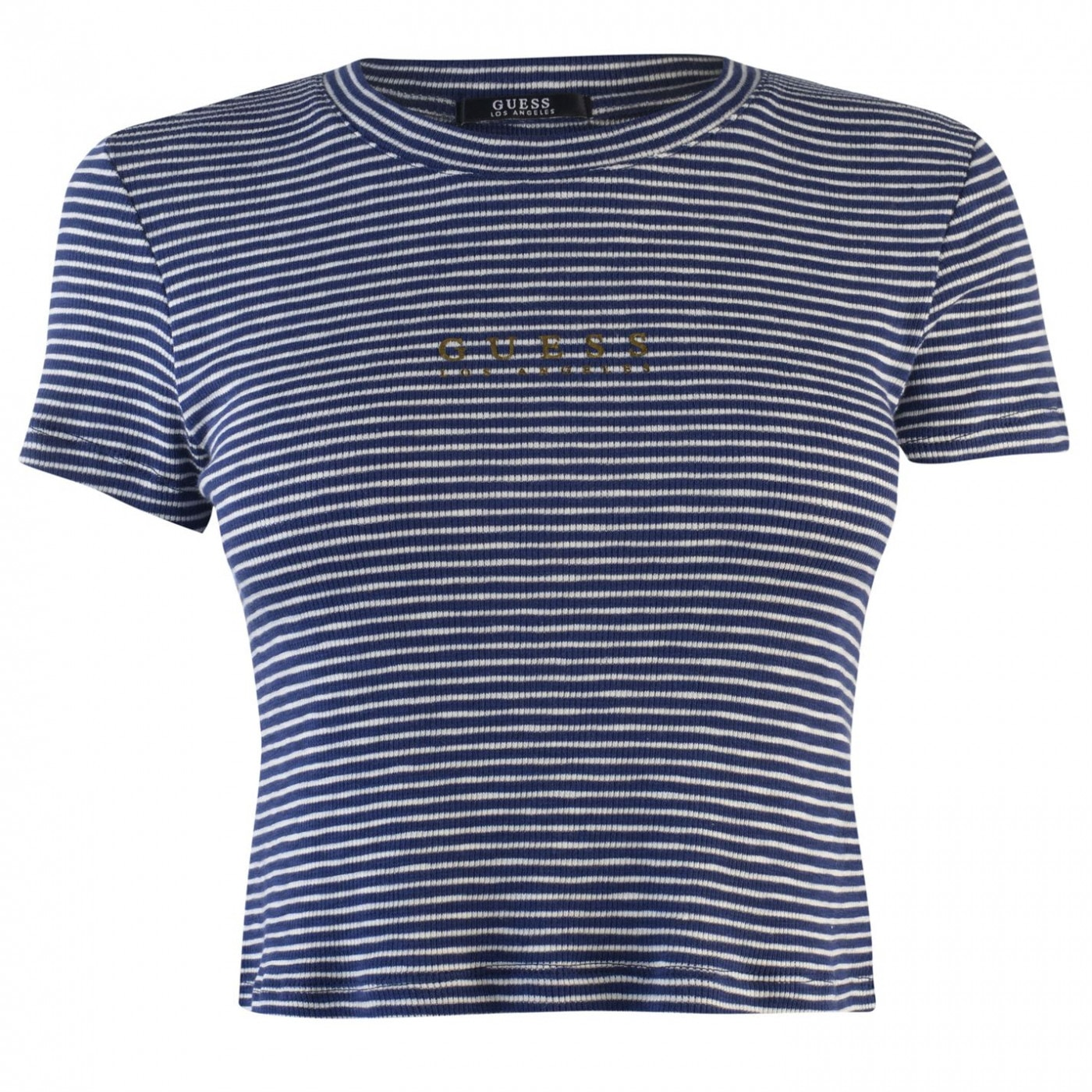 Guess Cropped Stripe T Shirt Womens