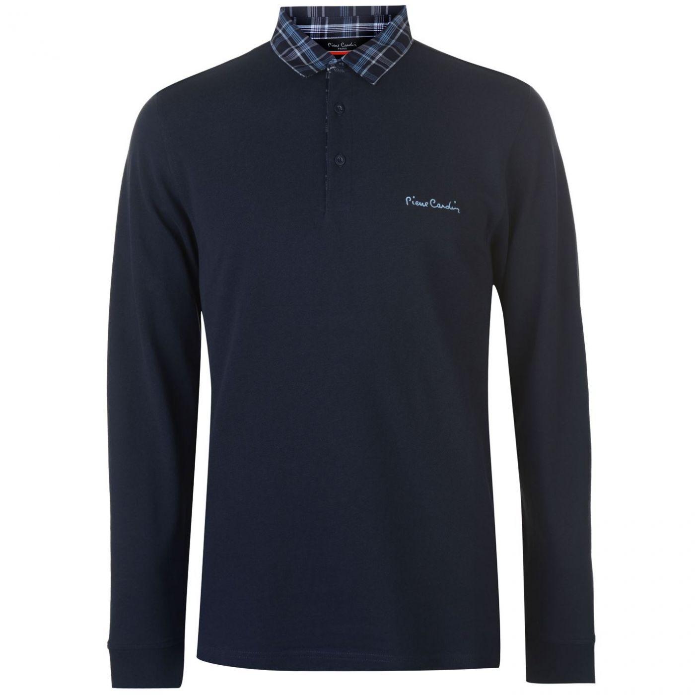Pierre Cardin Long Sleeve Check Collar Polo Mens