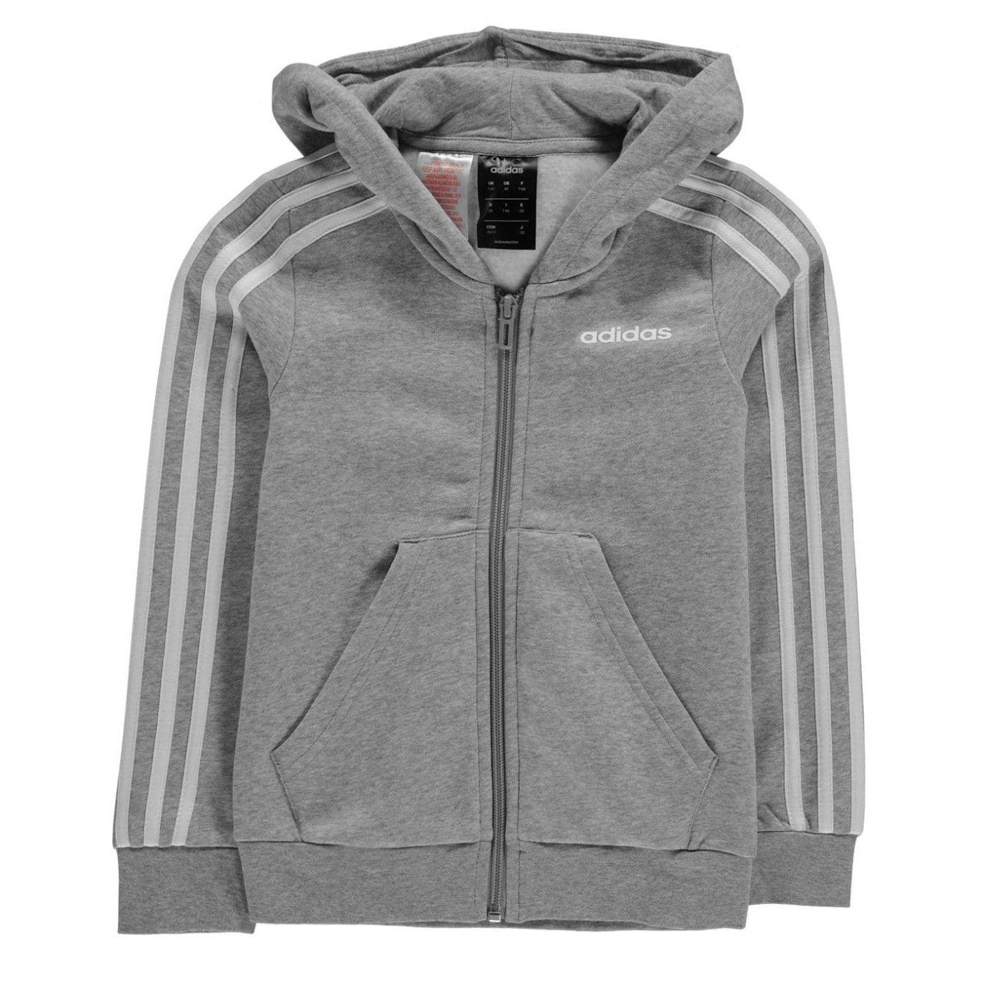 Adidas 3 Stripe Zip Hoodie Junior Girls