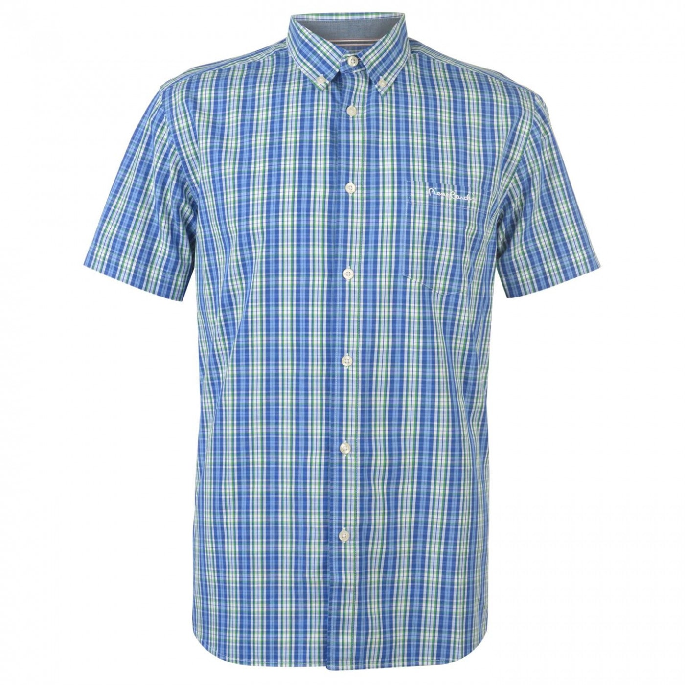 Pierre Cardin Short Sleeve Check Button Shirt Mens