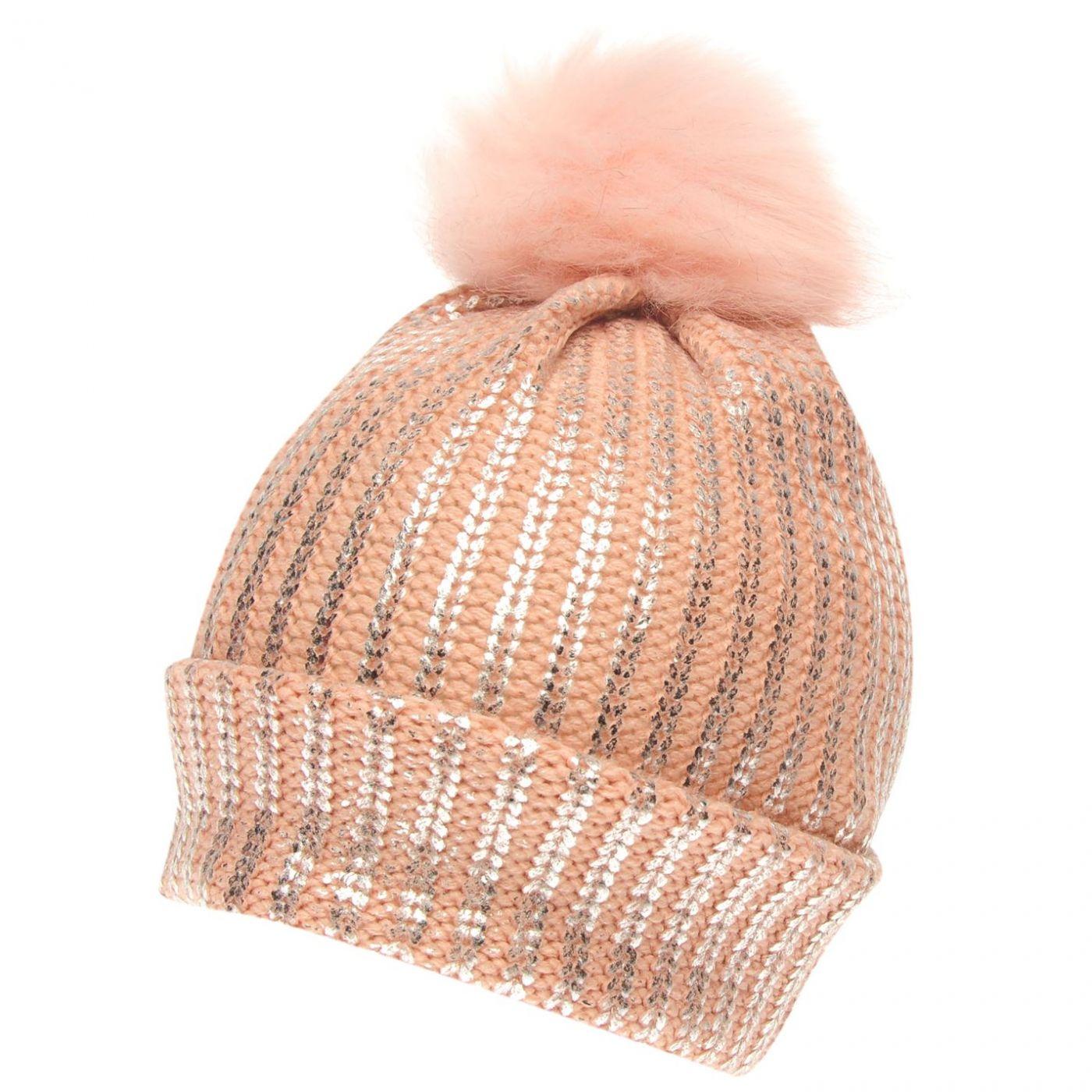Crafted Essentials Foil Pompom Hat Junior Girls
