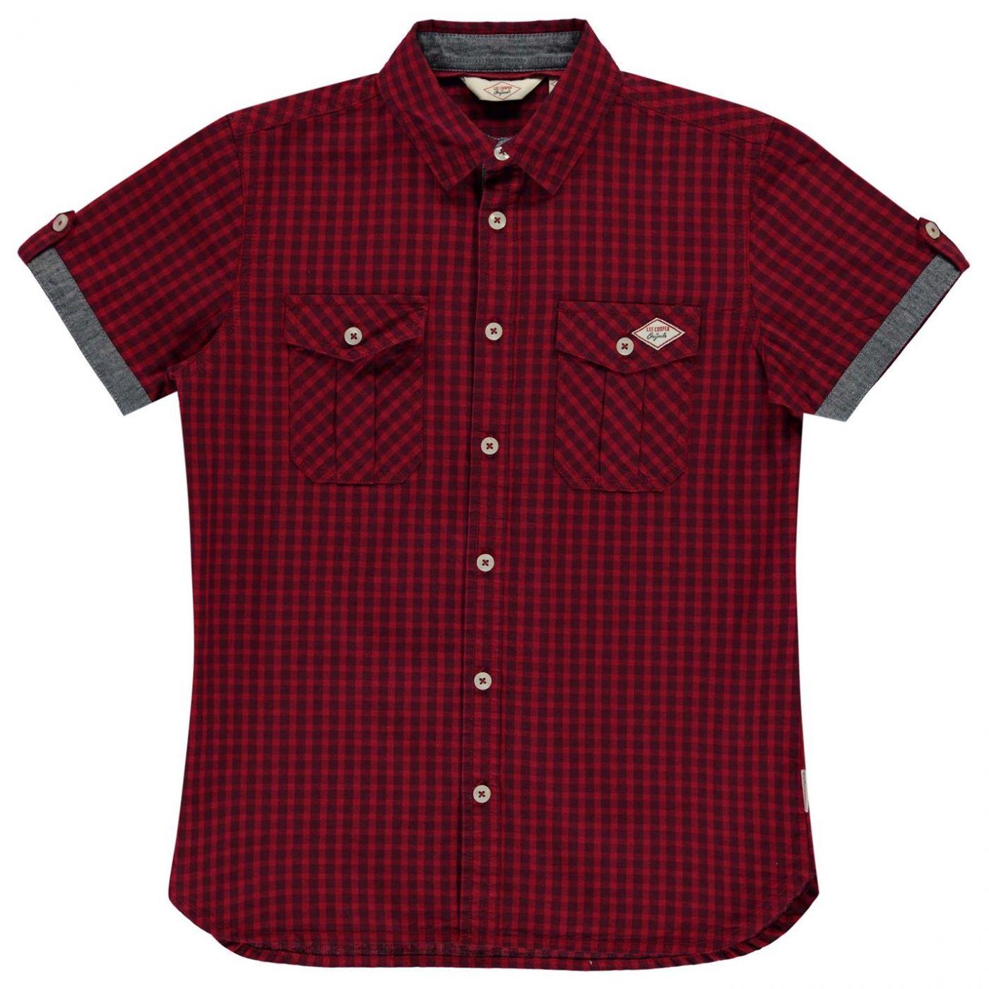 Lee Cooper Short Sleeve Gingham Shirt Junior Boys