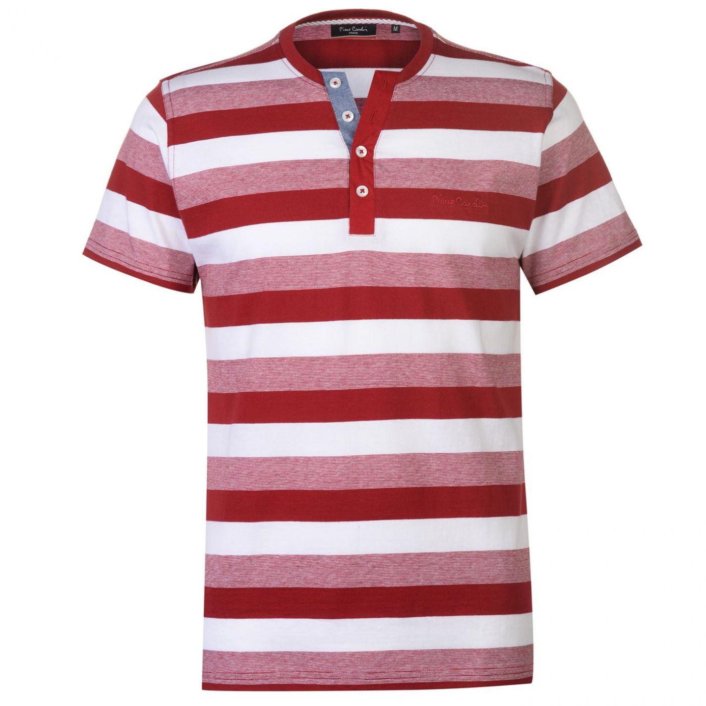 Pierre Cardin Y Neck Stripe T Shirt Mens