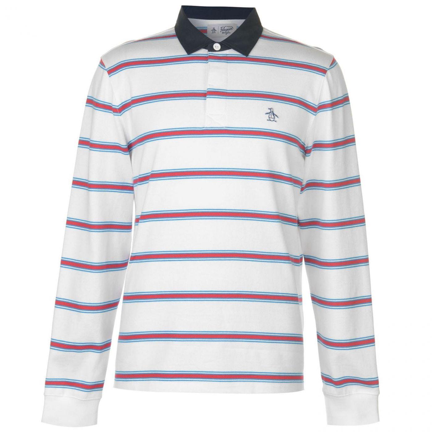 Original Penguin Auto Stripe Long Sleeve Polo Shirt