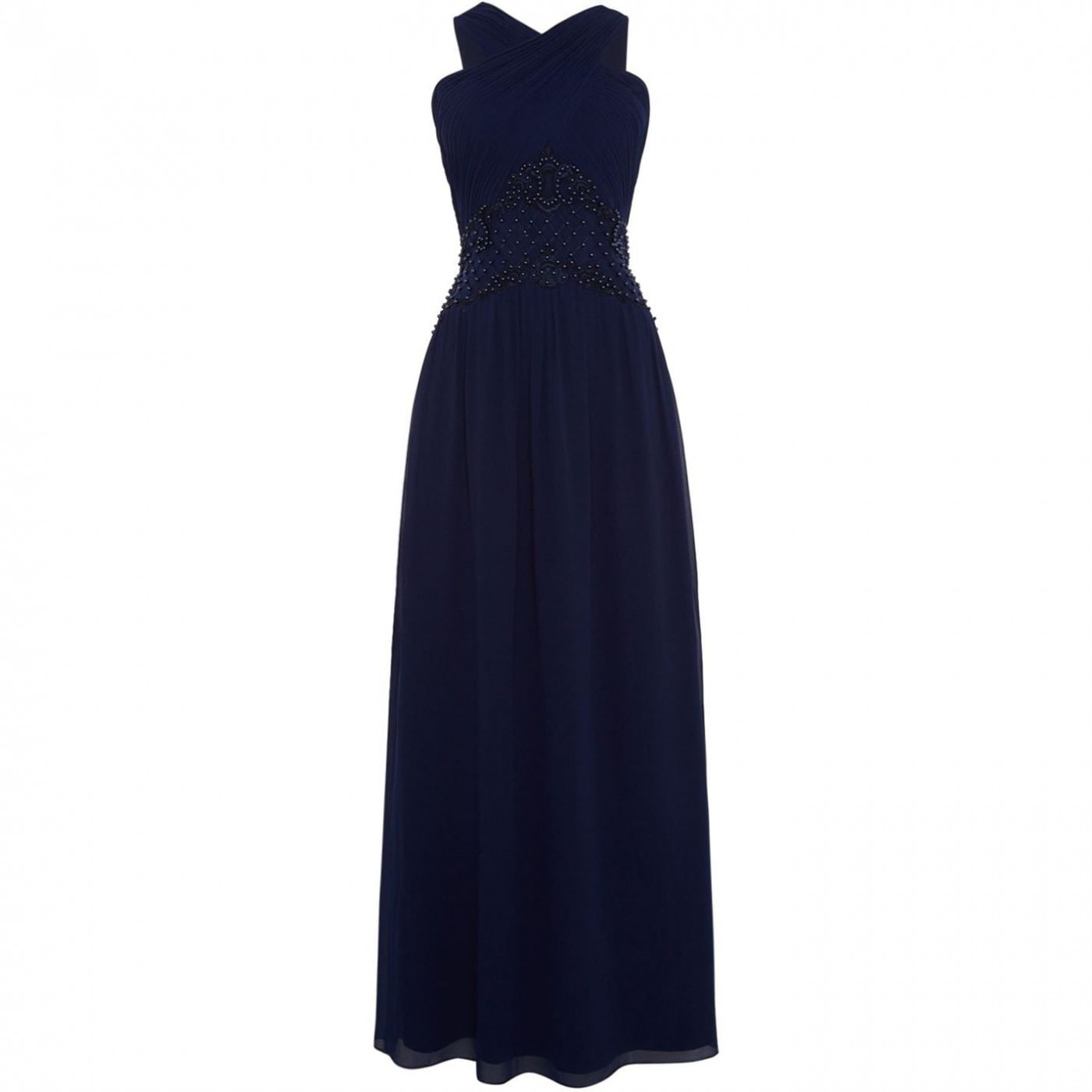 Little Mistress V neck fitted cross over maxi dress