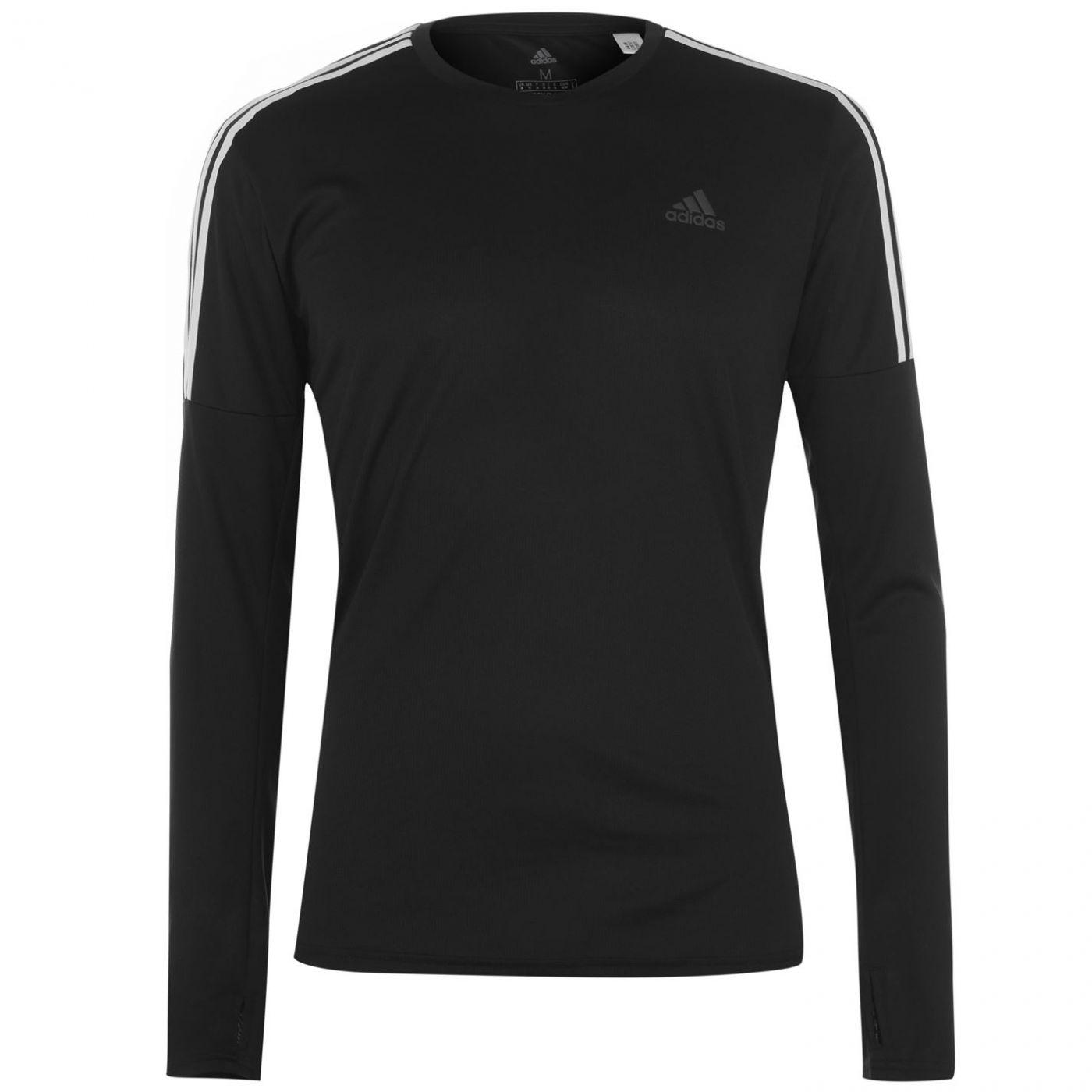 Adidas 3 Stripe Long Sleeve T Shirt Mens