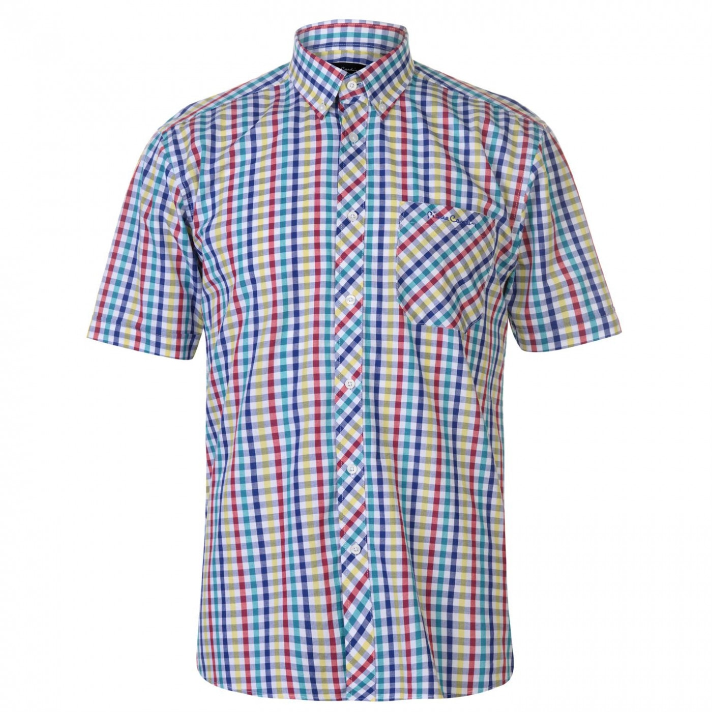 Pierre Cardin Coloured Gingham Short Sleeve Shirt Mens