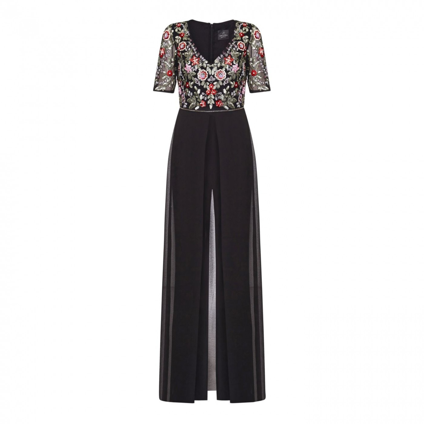 Adrianna Papell Embellished Jumpsuit with Sheer Skirt