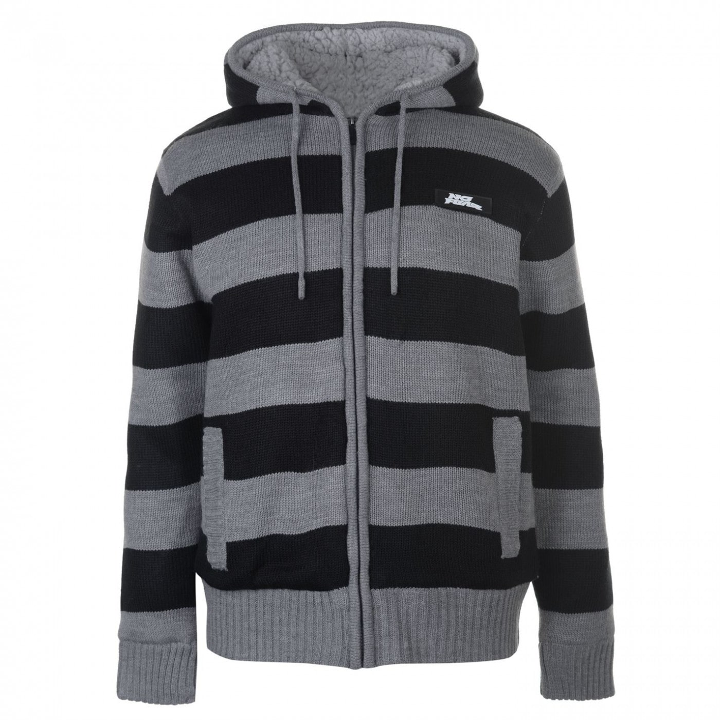 No Fear Knitted Fleece Hoody Mens