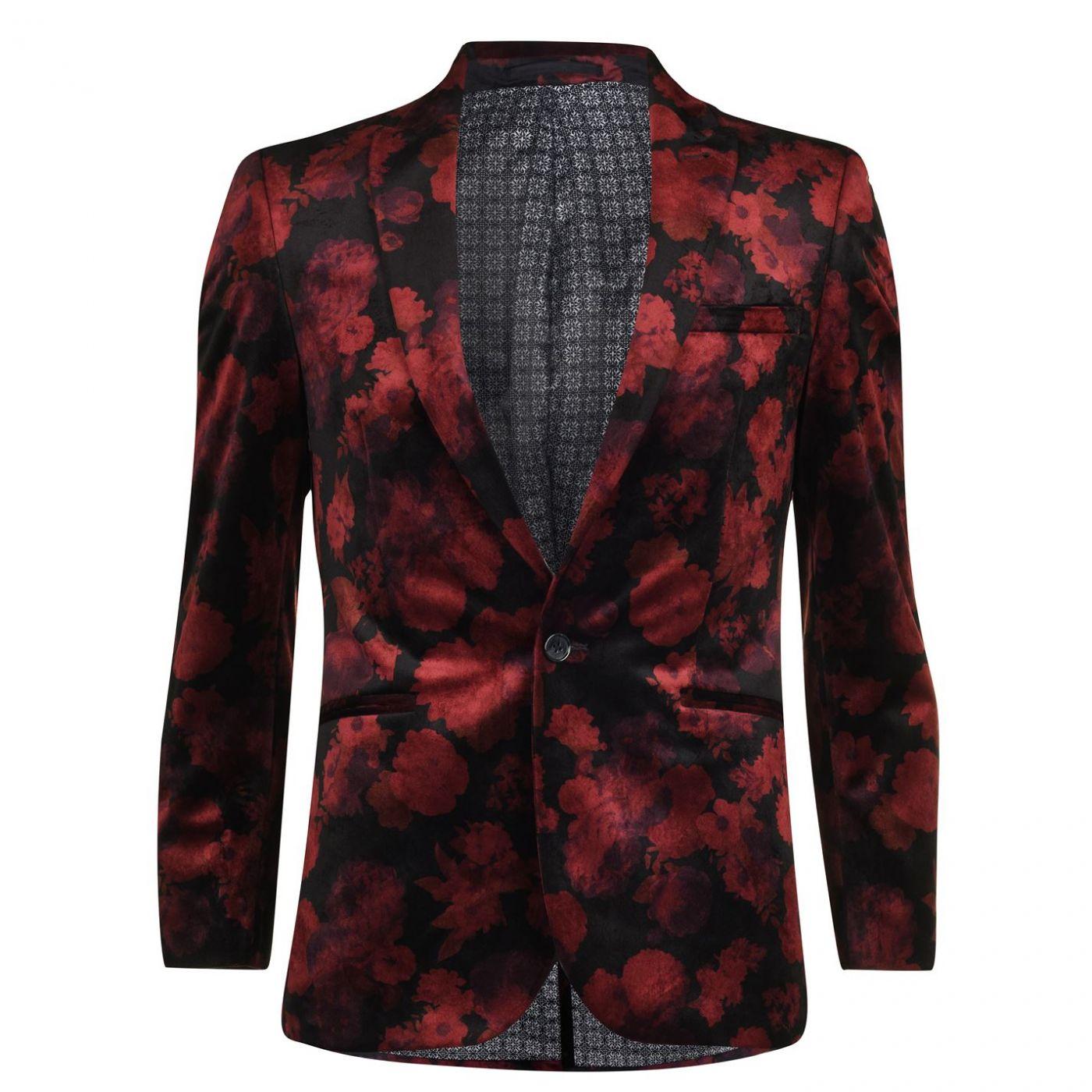 Harry Brown Floral Velvet Blazer Mens