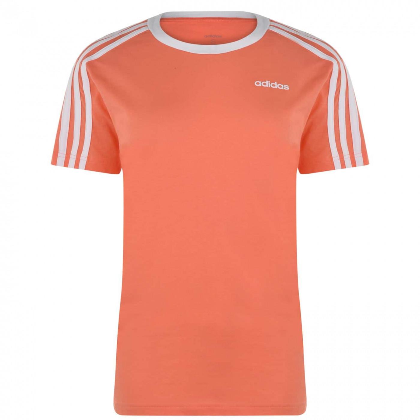 Adidas Essentials 3 Stripe T Shirt Ladies