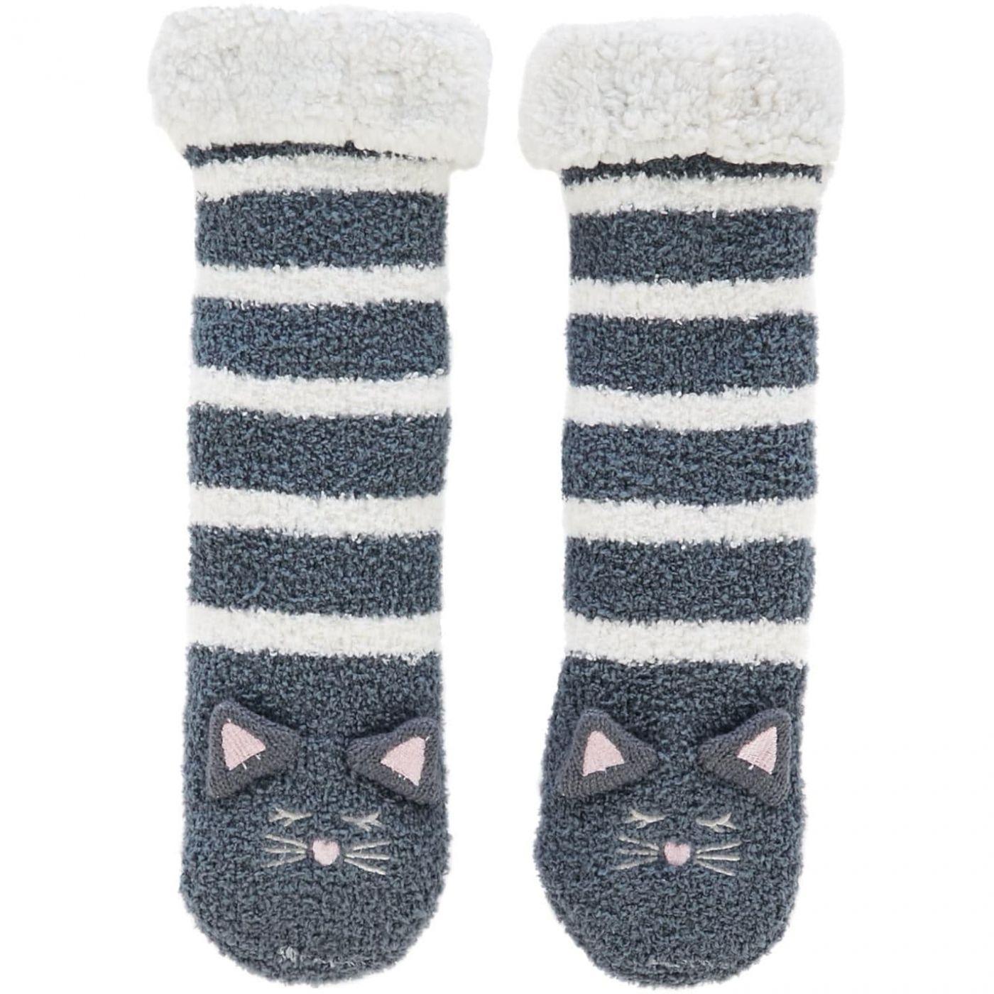 Therapy London Cat stripe slipper sock