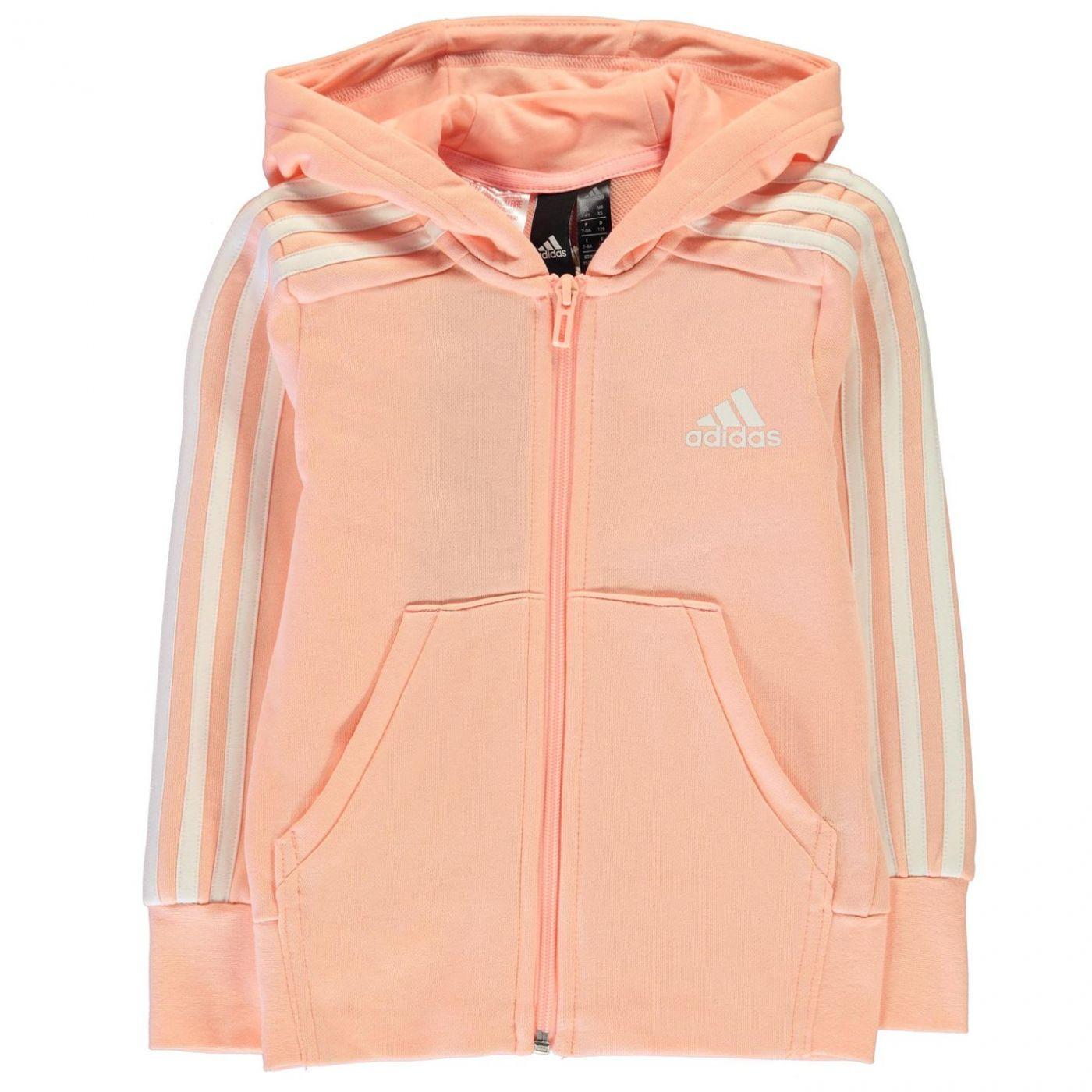 Adidas 3 Stripe Zip Hoody Junior Girls
