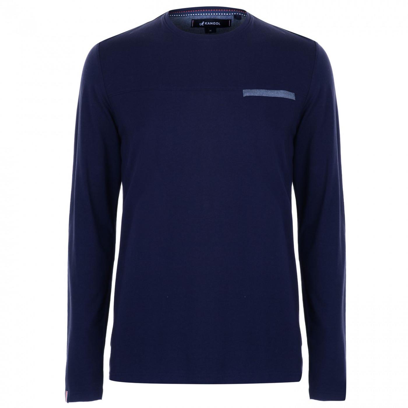 Triko Triko Kangol Chambray Long Sleeve Panel T Shirt pánske