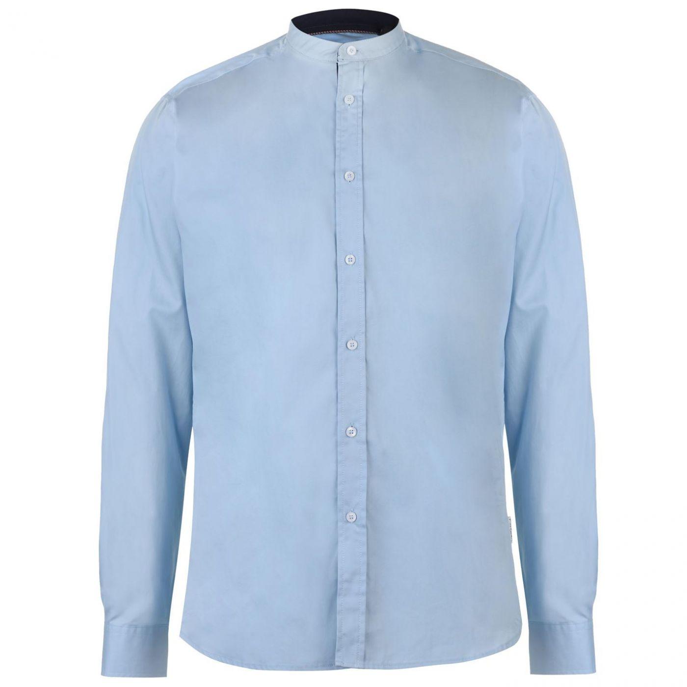 Pierre Cardin Mandarin Collar Long Sleeve Shirt Mens
