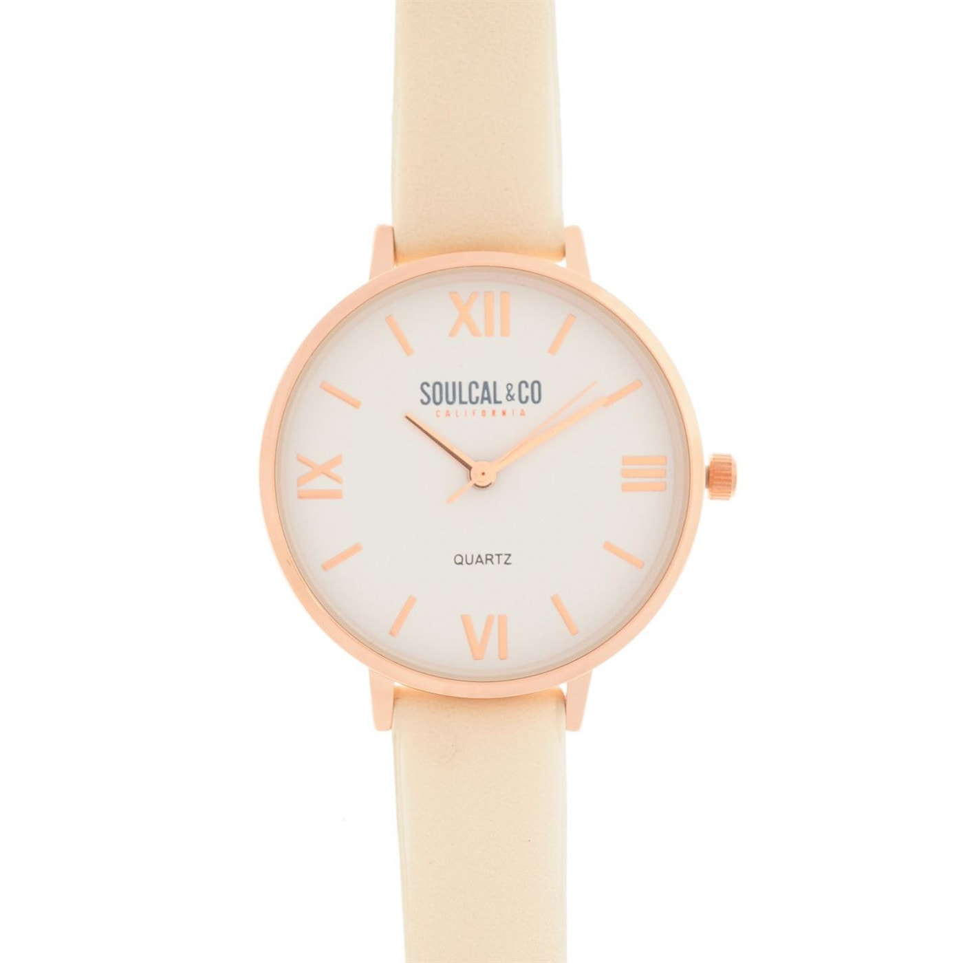 SoulCal Classic Leather Strap Watch Womens