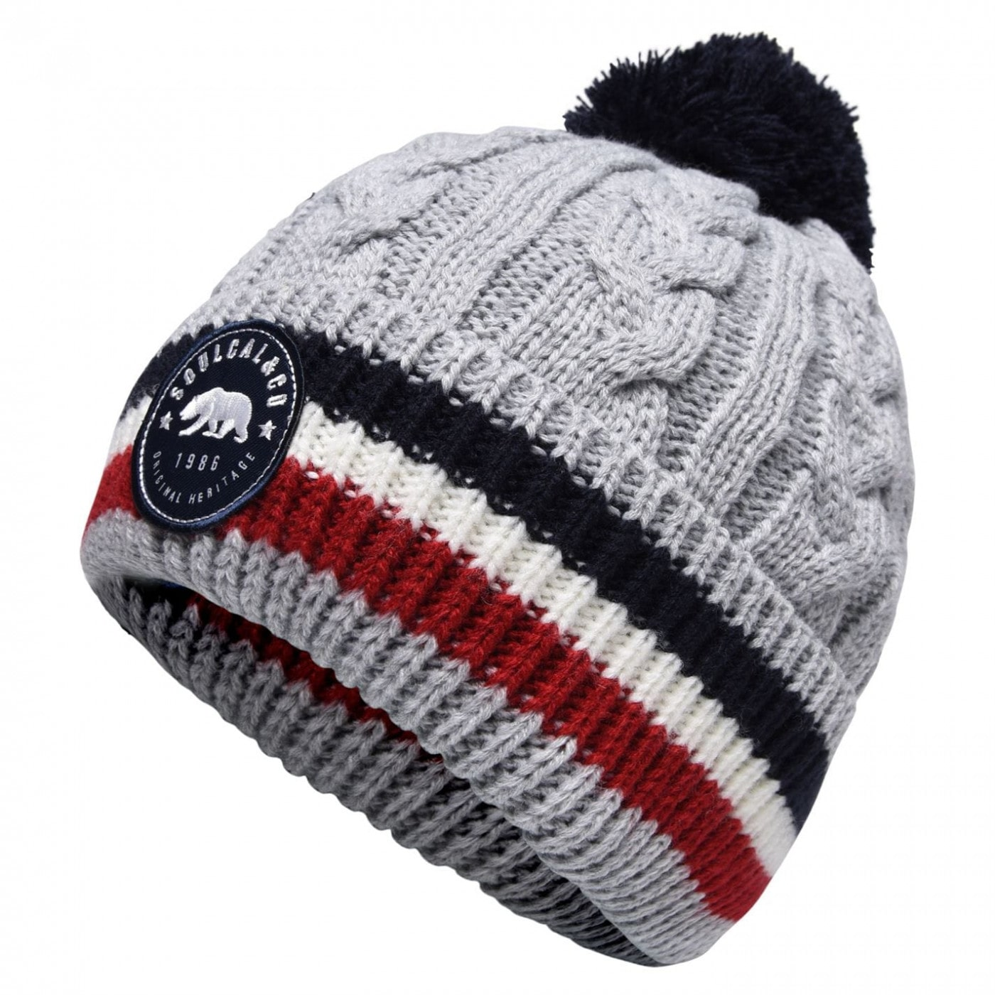 SoulCal Cableknit Stripe Hat