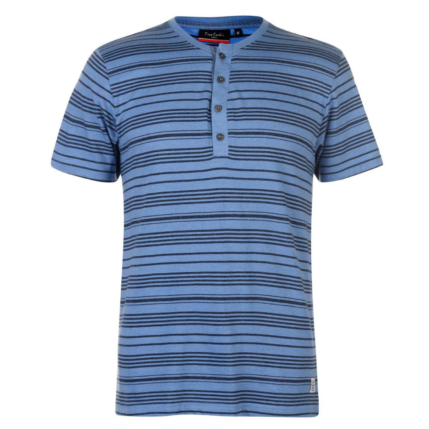 Pierre Cardin Grandad Collar T Shirt Mens