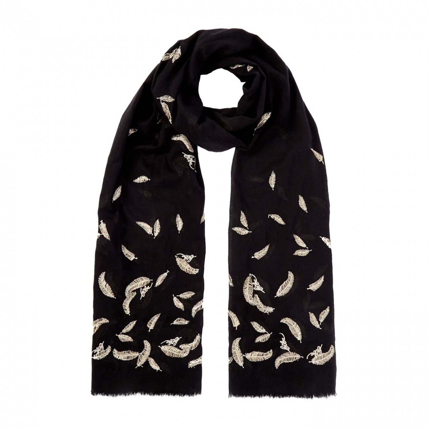Biba Feather Embroidered Scarf