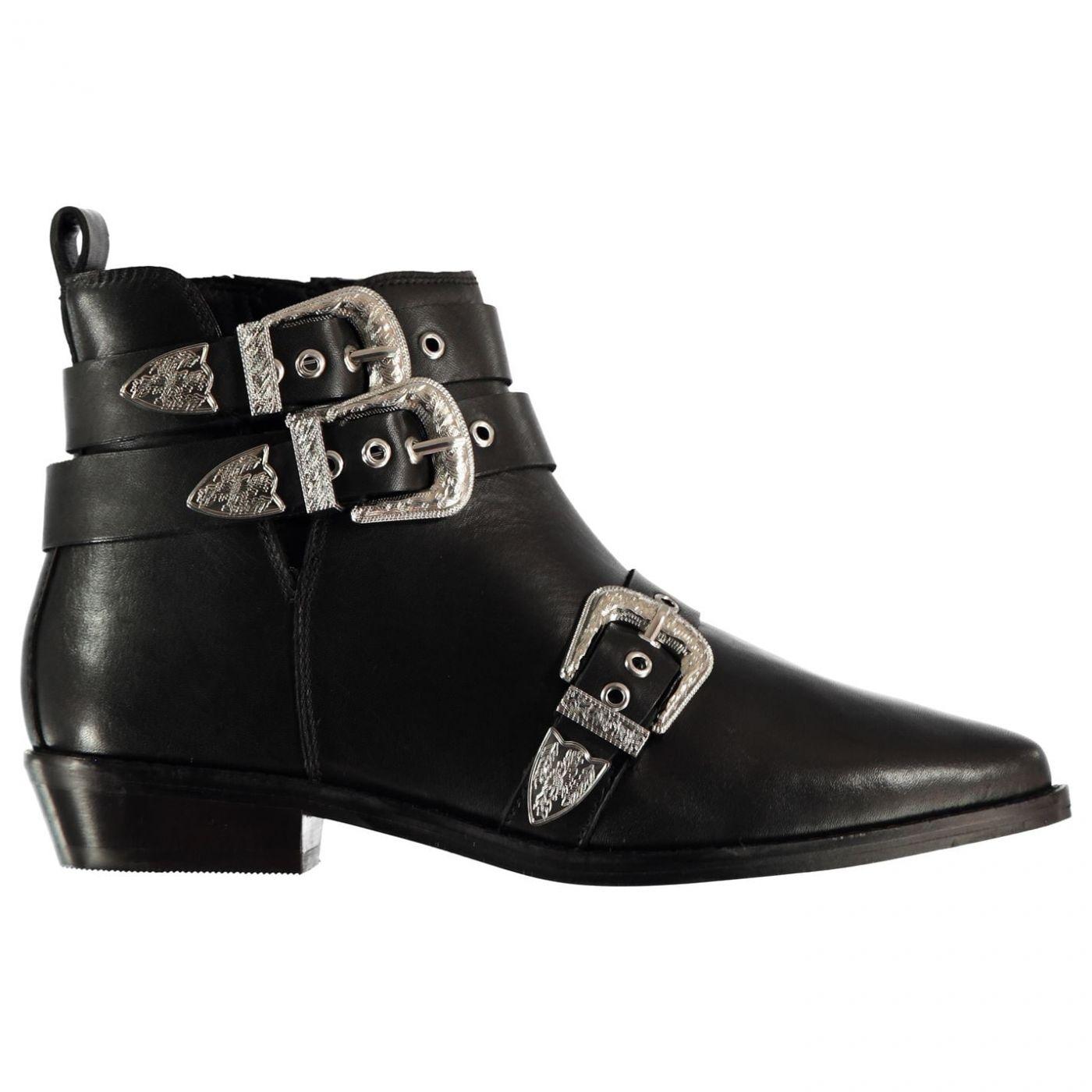 Bronx Buckle Flat Boots Ladies