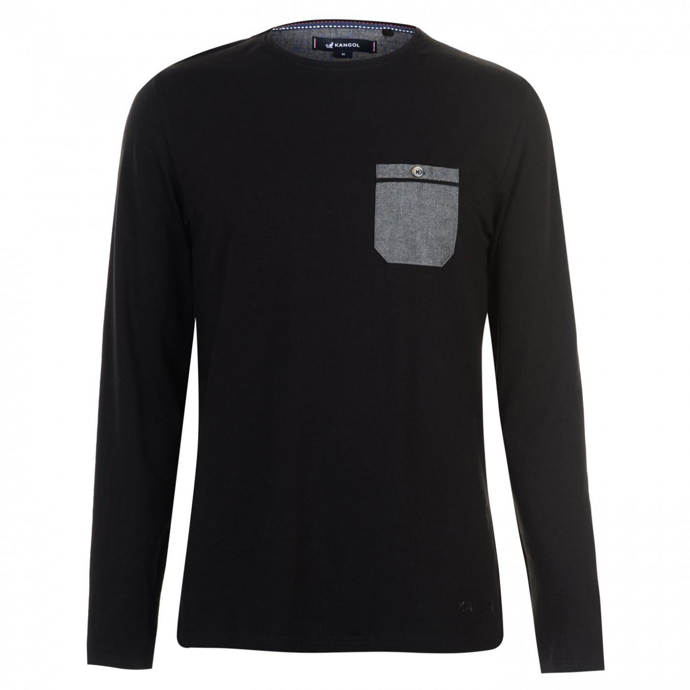 Kangol Chambray LS Pocket T Shirt Mens