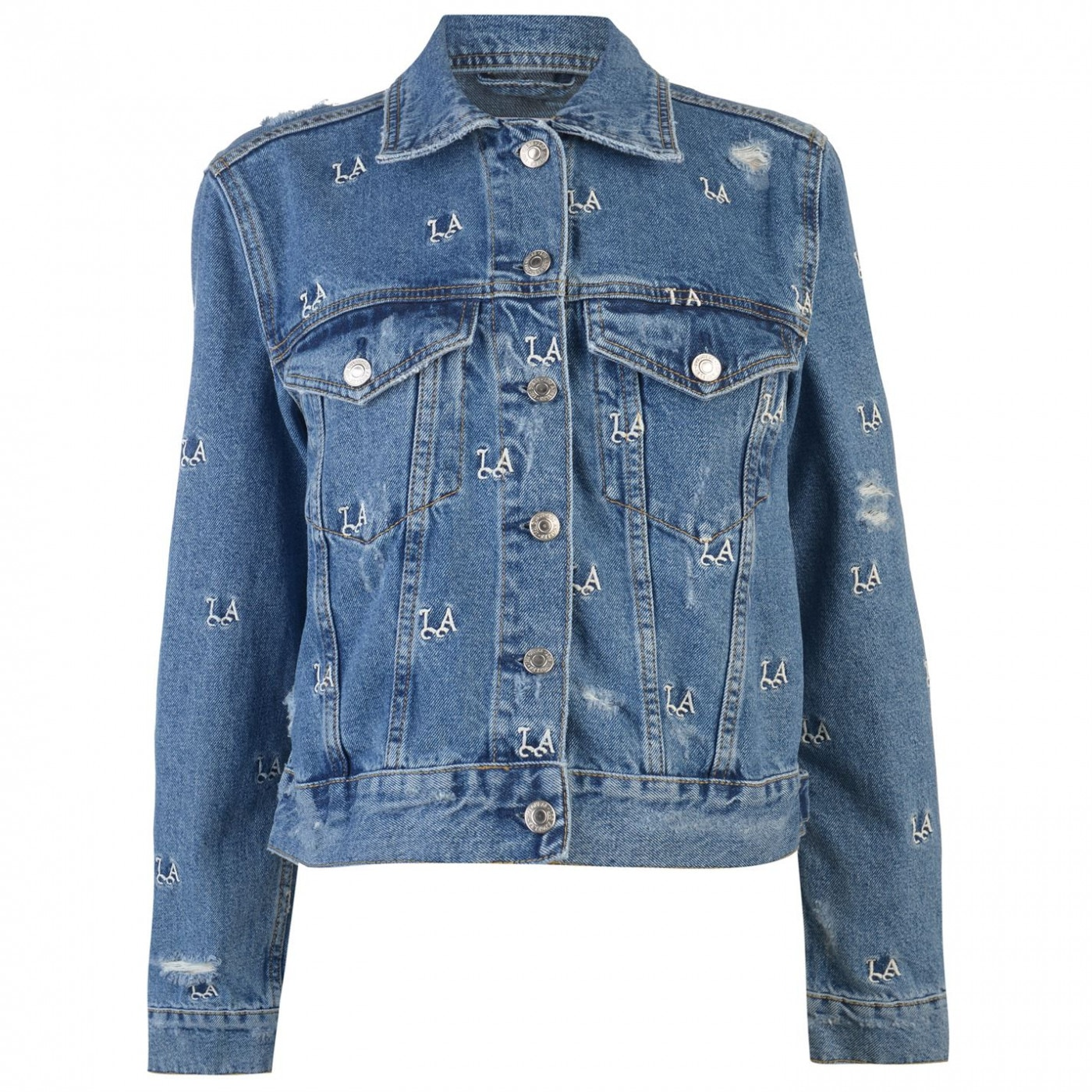 Guess Monogram Embroidered Trucker Jacket