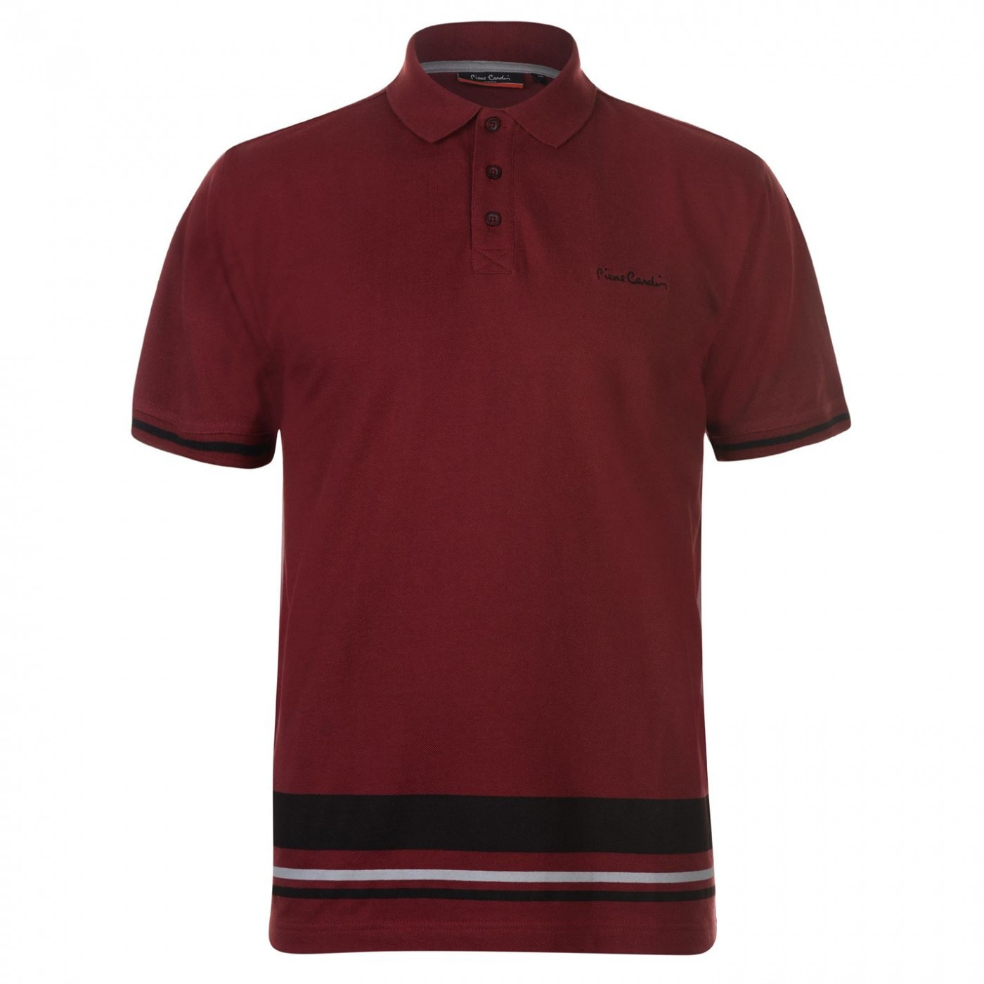Pierre Cardin Button Stripe Polo Shirt Mens