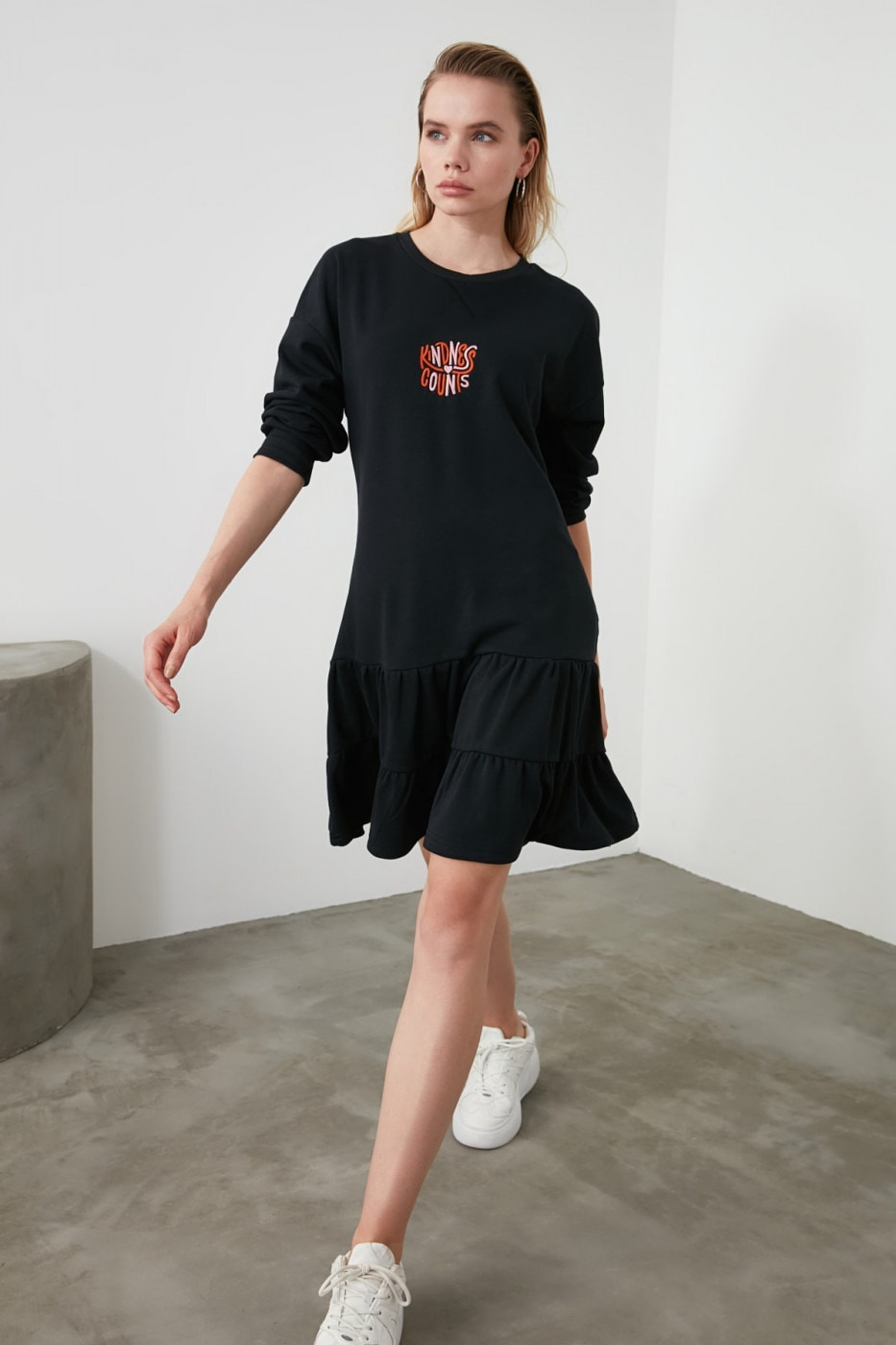 Trendyol Navy Embroidered Knitted Sweat Dress