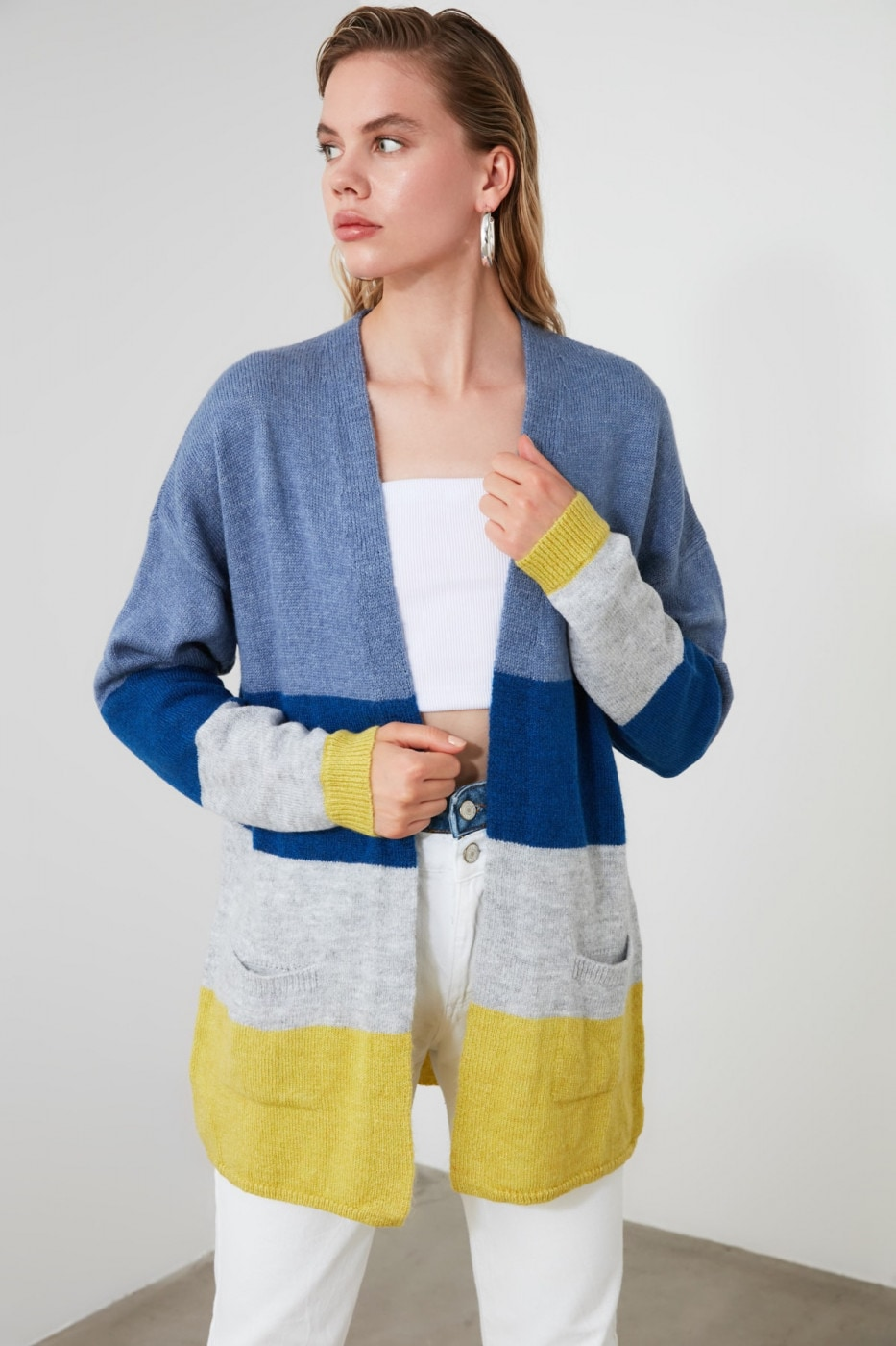 Trendyol Blue Block KnitWear Cardigan