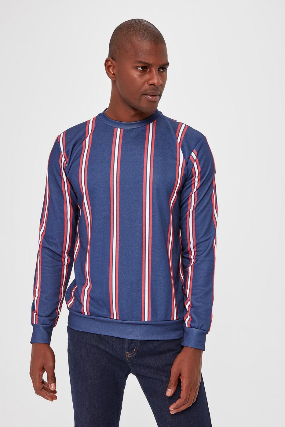 Trendyol Navy Blue Men's Bicycle Collar Striped New Sweatshirt