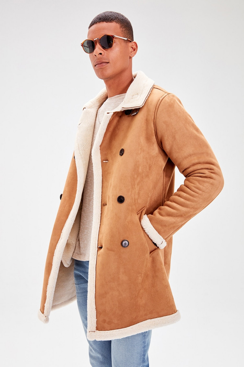 Trendyol Camel New Men's Sherpa Lamine Pocket Front Button Coat