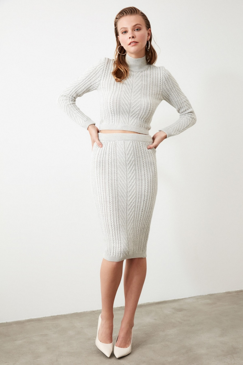 Trendyol Grey Braided Skirt Cossack Knitwear Bottom-Top Team
