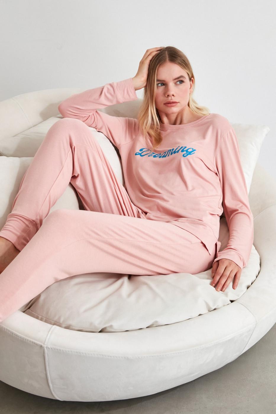 Trendyol Powder Motto Knitted Pyjamas Set