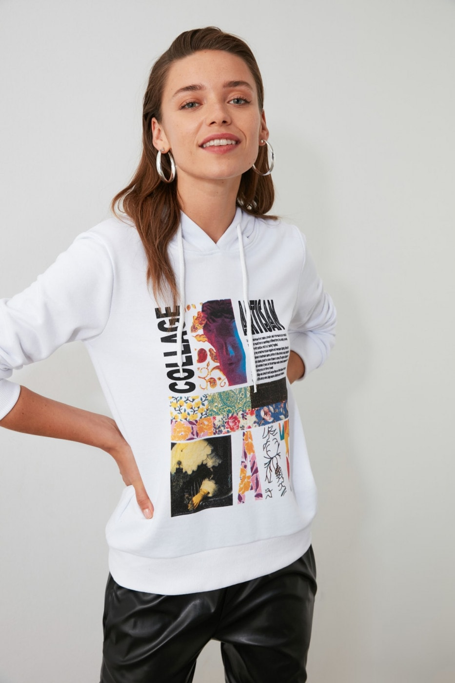Trendyol White Printed and Hooded Basic Knitted Sweatshirt
