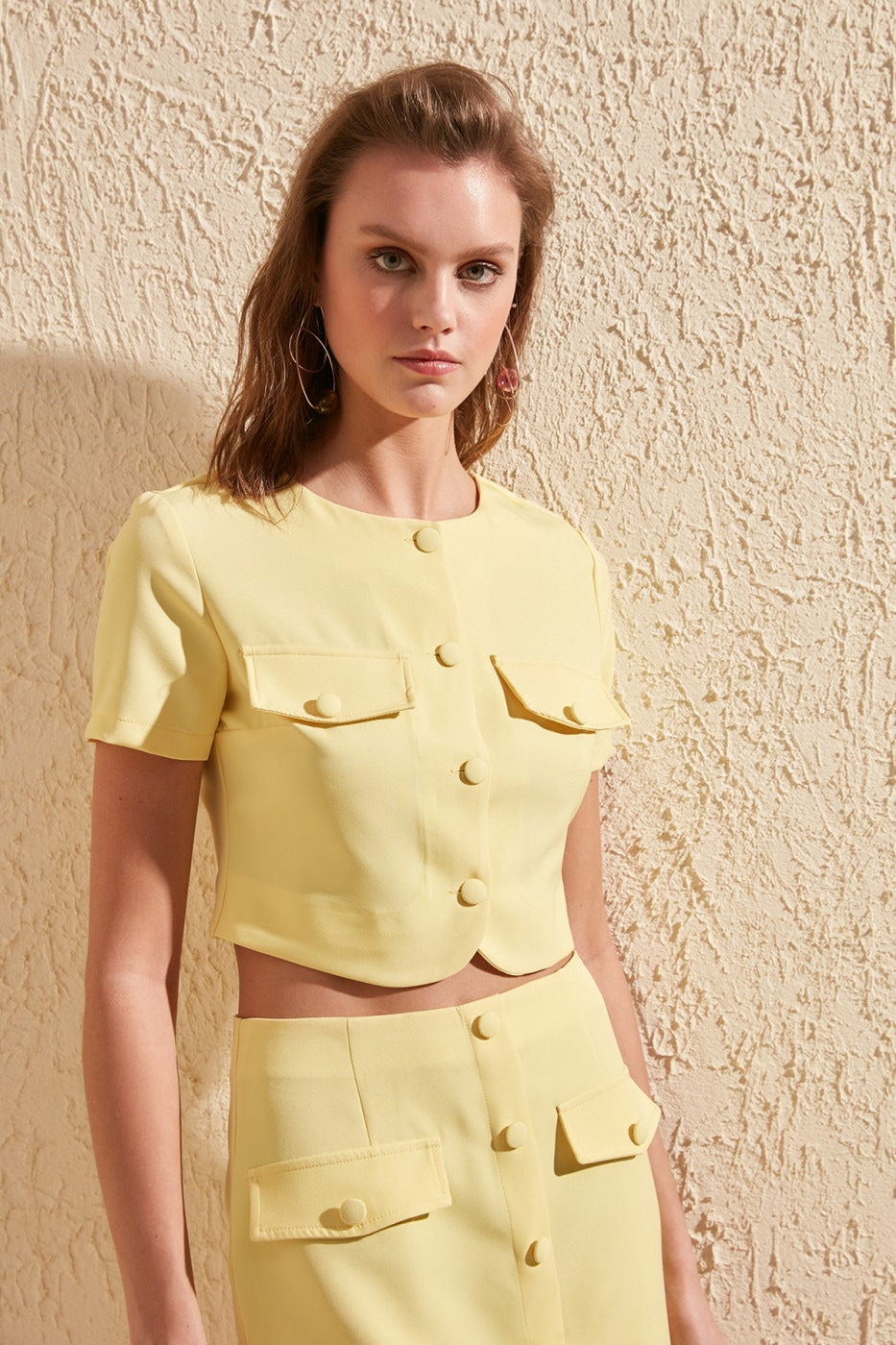 Trendyol Yellow Pocket and Button Detailed Stylish Crop Blouse